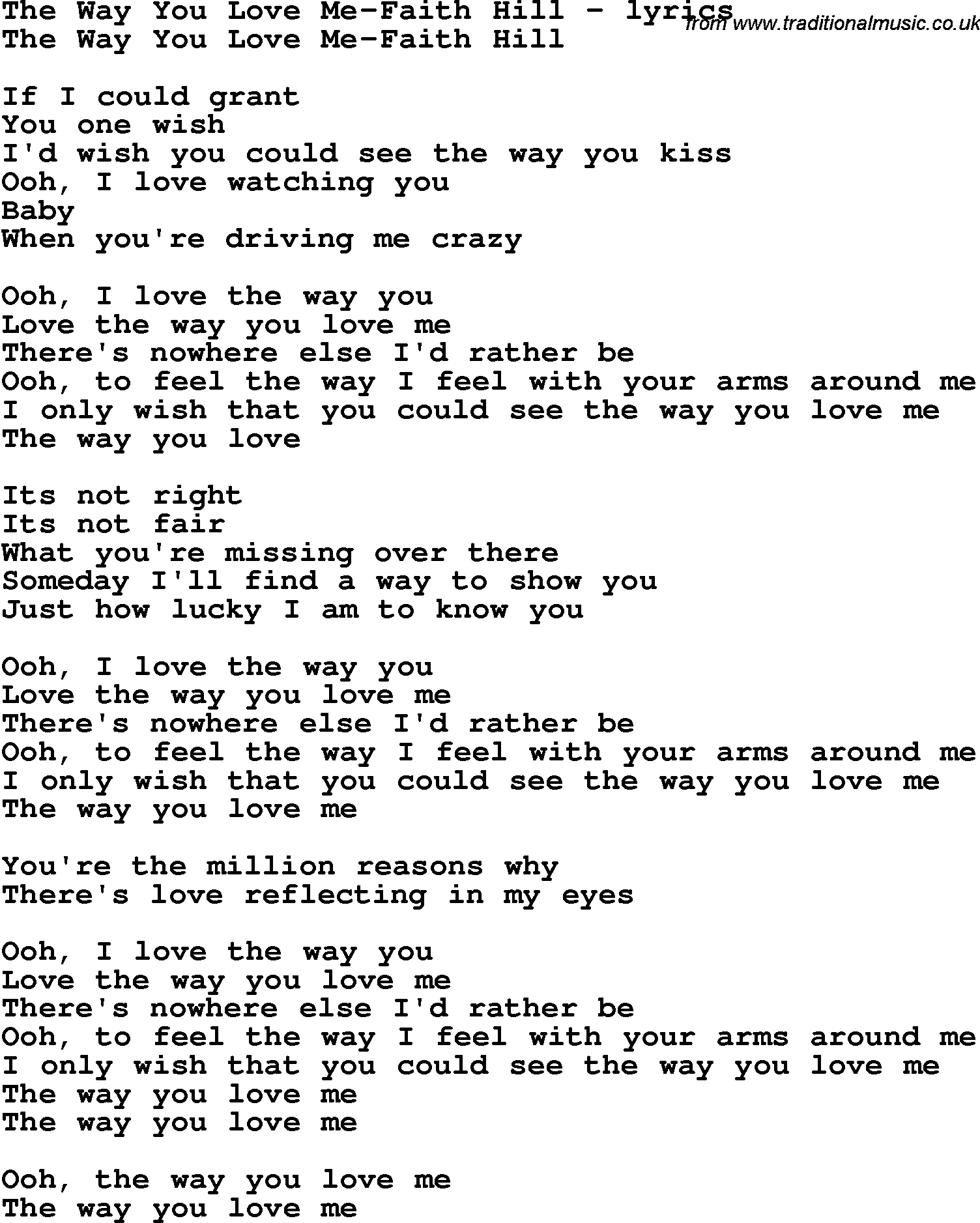 Love Song Lyrics For: The Way You Love Me Faith Hill