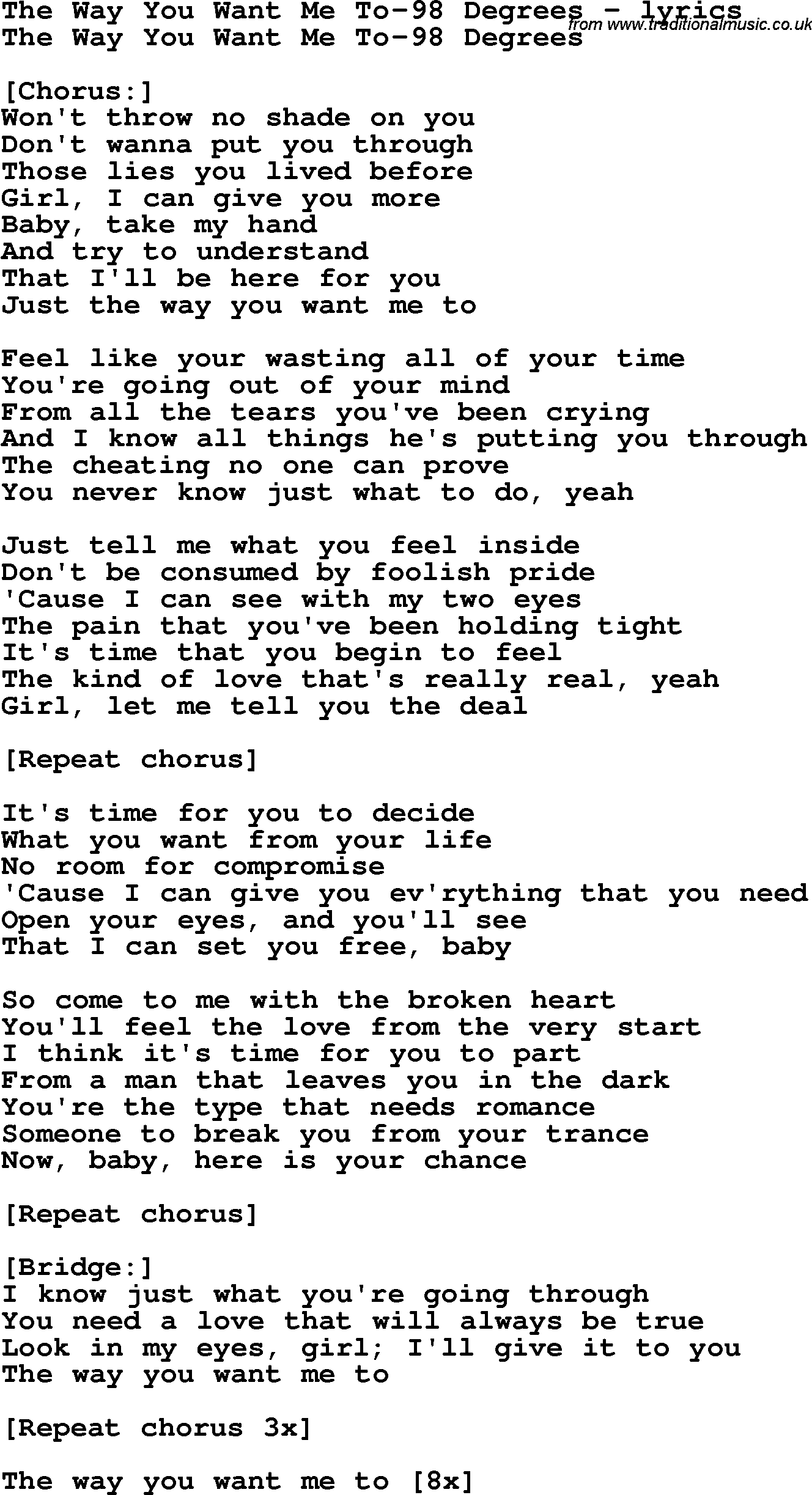 I want you show me the way lyrics