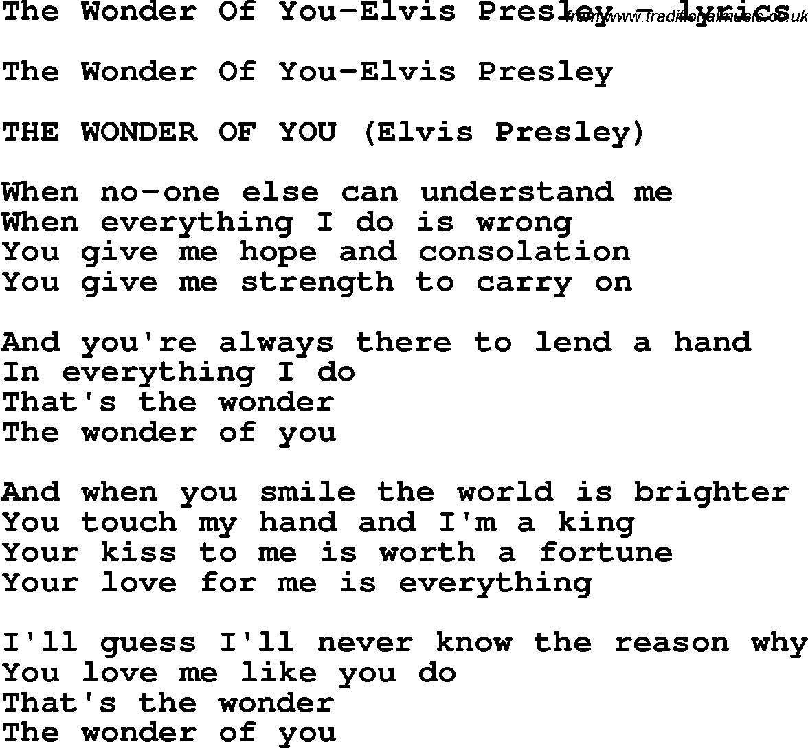 Download The Wonder Of You-Elvis Presley as PDF file (For printing etc