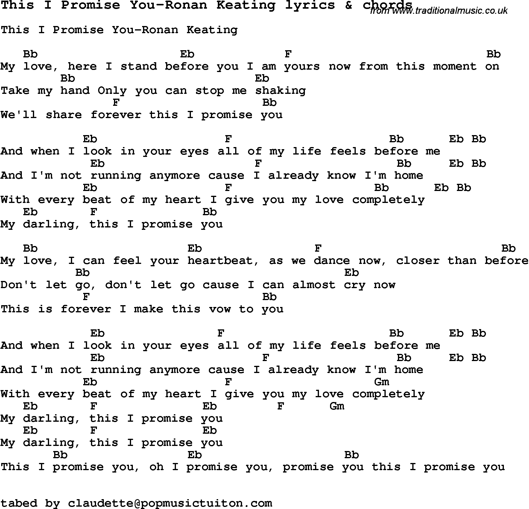 Love Song Lyrics Forthis I Promise You Ronan Keating With Chords