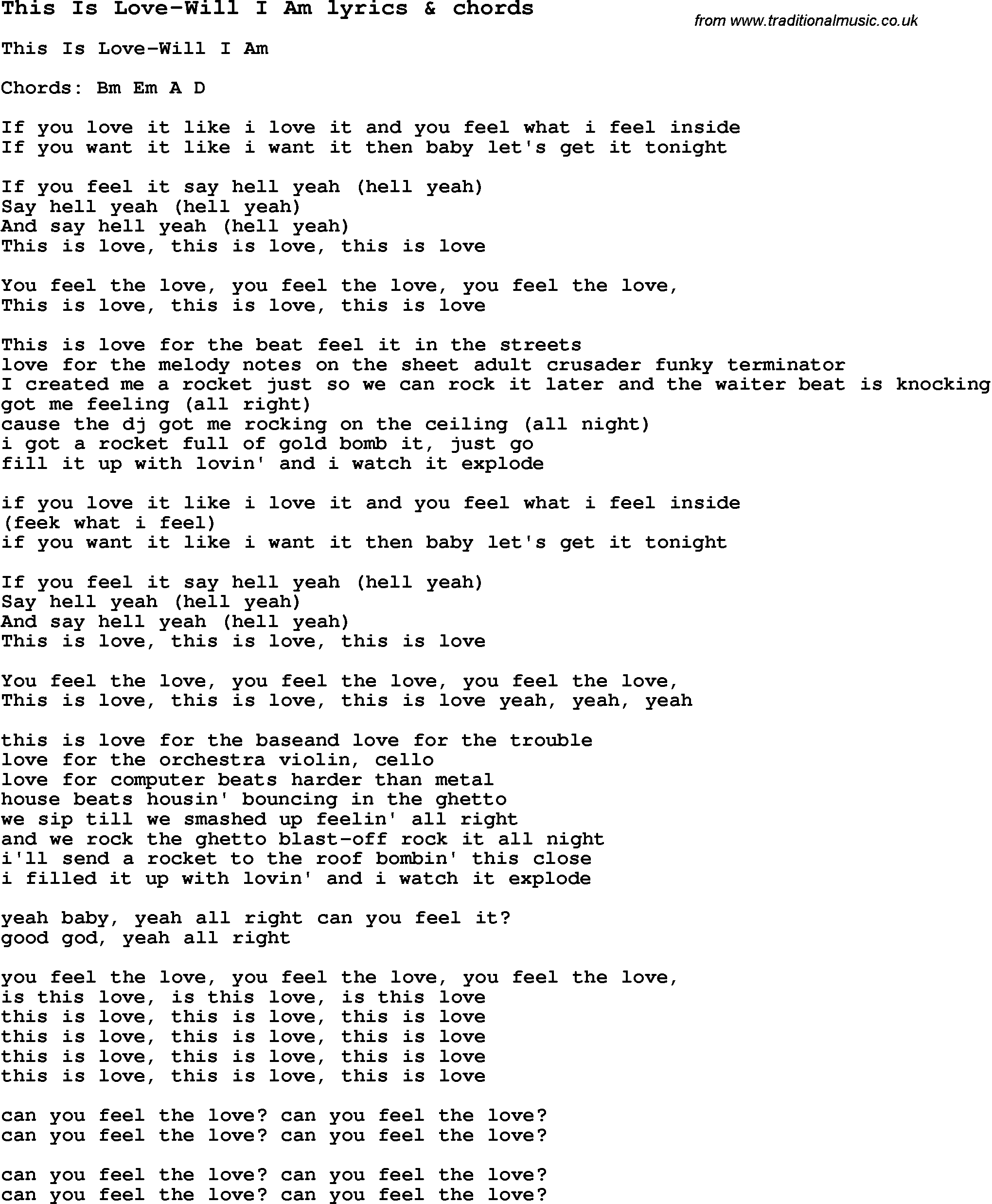 Love Song Lyrics for: This Is Love-Will I Am with chords for Ukulele ...