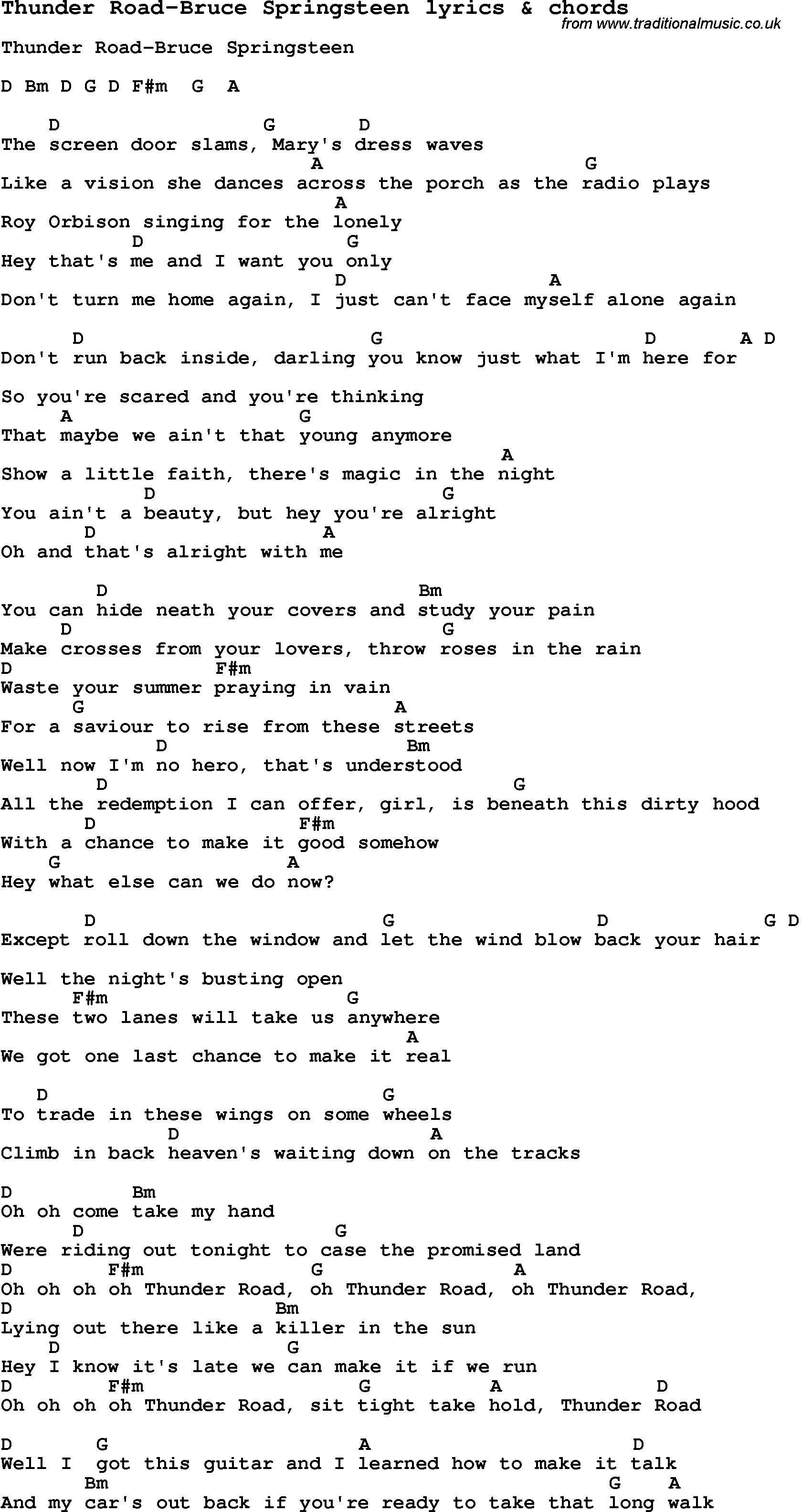 Love Song Lyrics Forthunder Road Bruce Springsteen With Chords