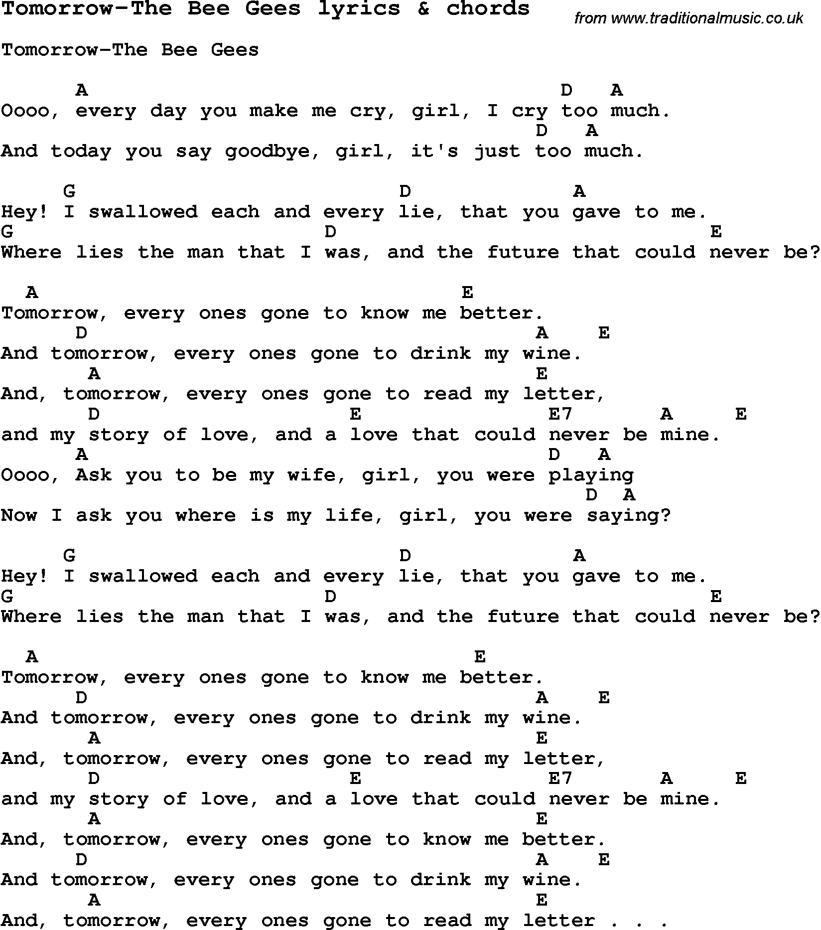 love song lyrics for tomorrow the bee gees with chords