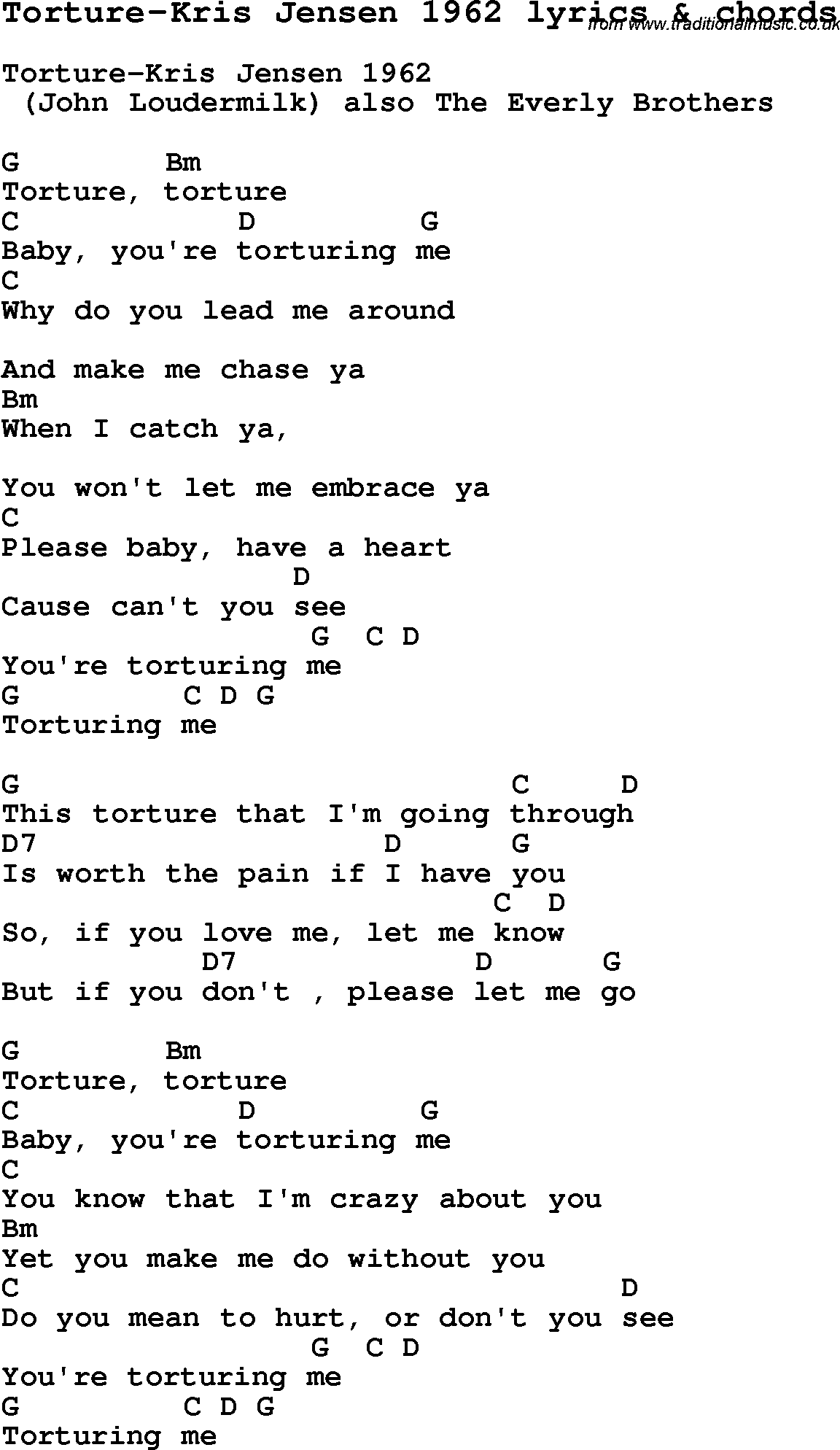 Love Song Lyrics Fortorture Kris Jensen 1962 With Chords