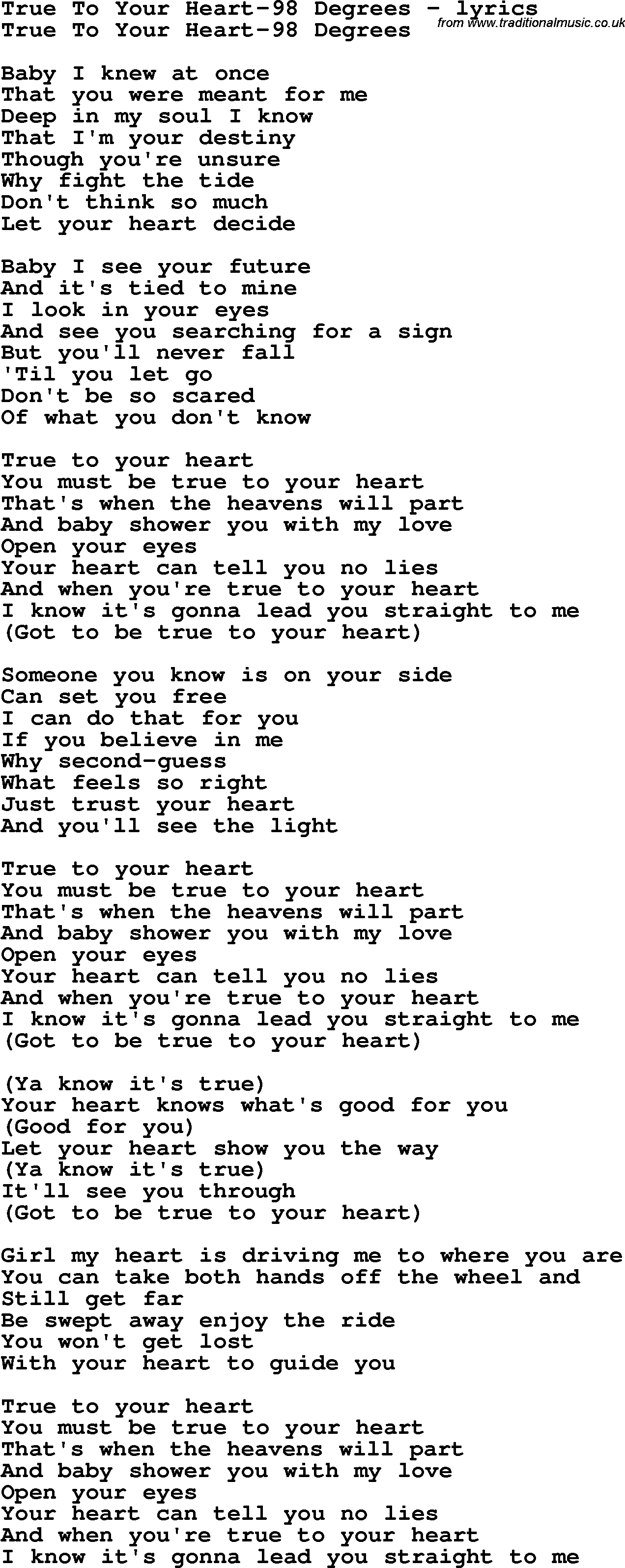 Love Song Lyrics For True To Your Heart 98 Degrees