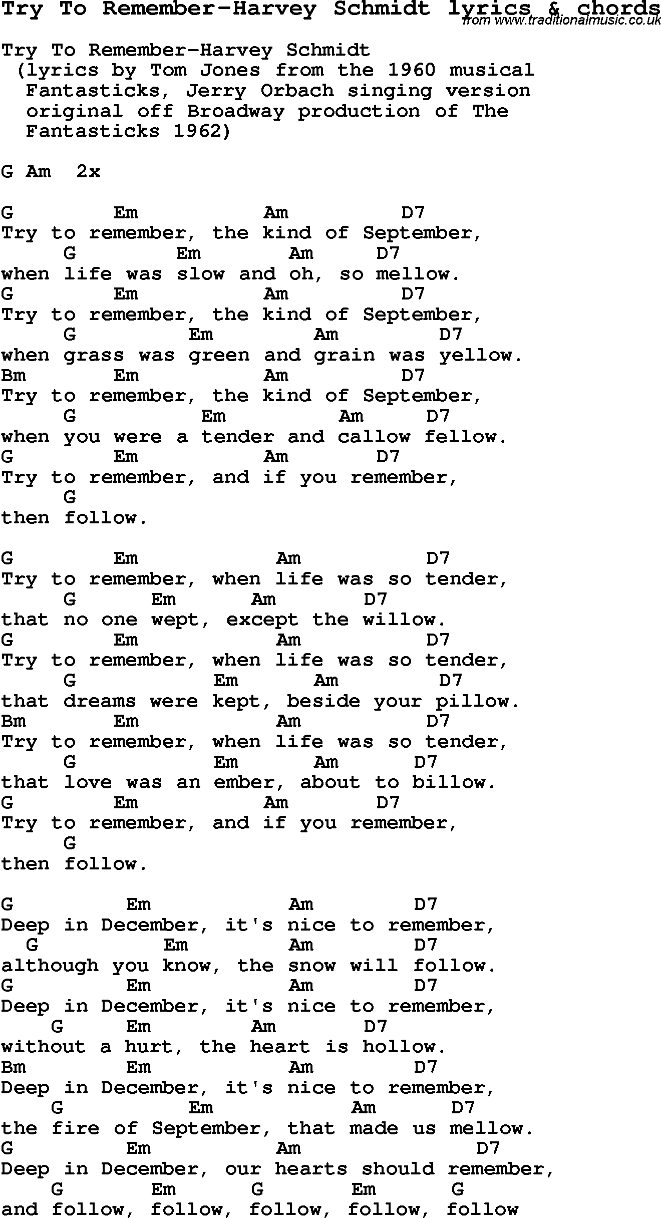 Love Song Lyrics Fortry To Remember Harvey Schmidt With Chords