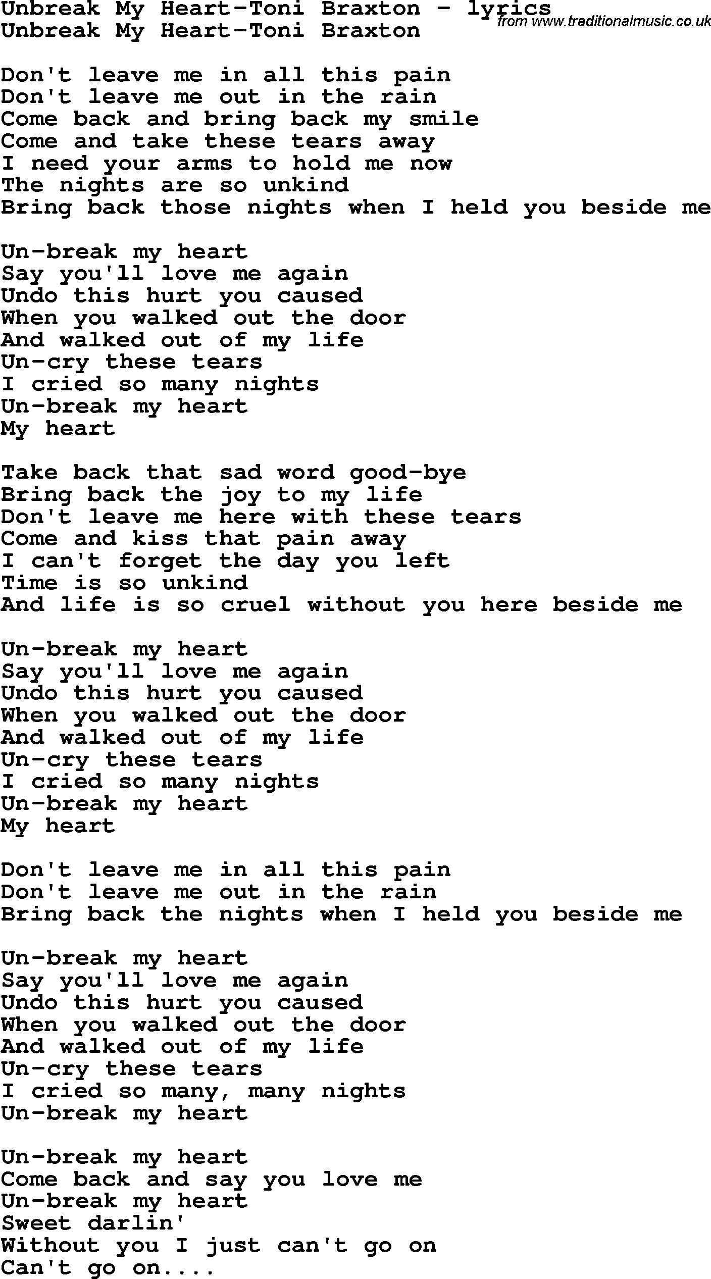 Unbreak My Heart - Toni Braxton LYRICS - YouTube