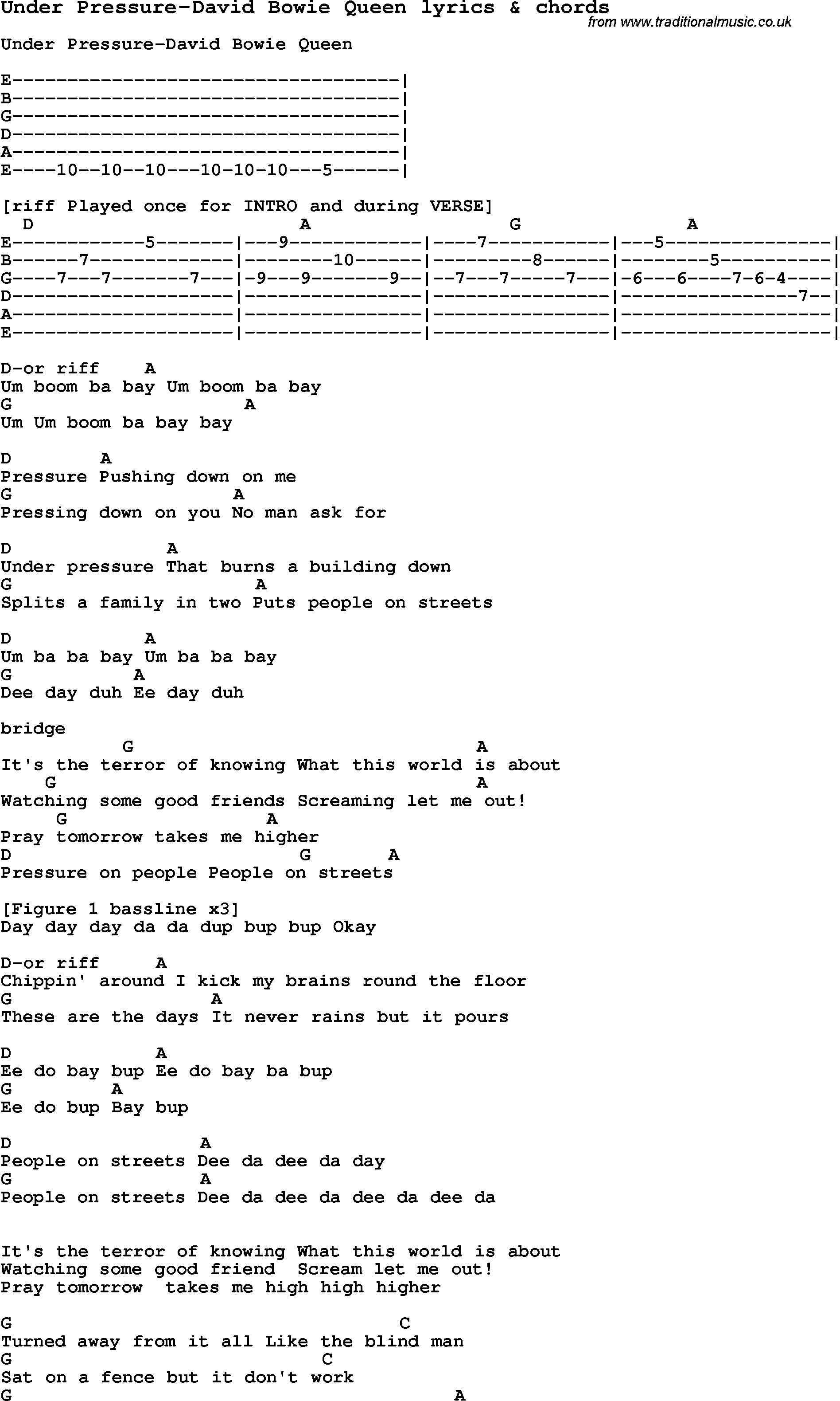 Love Song Lyrics for:Under Pressure-David Bowie Queen with chords.