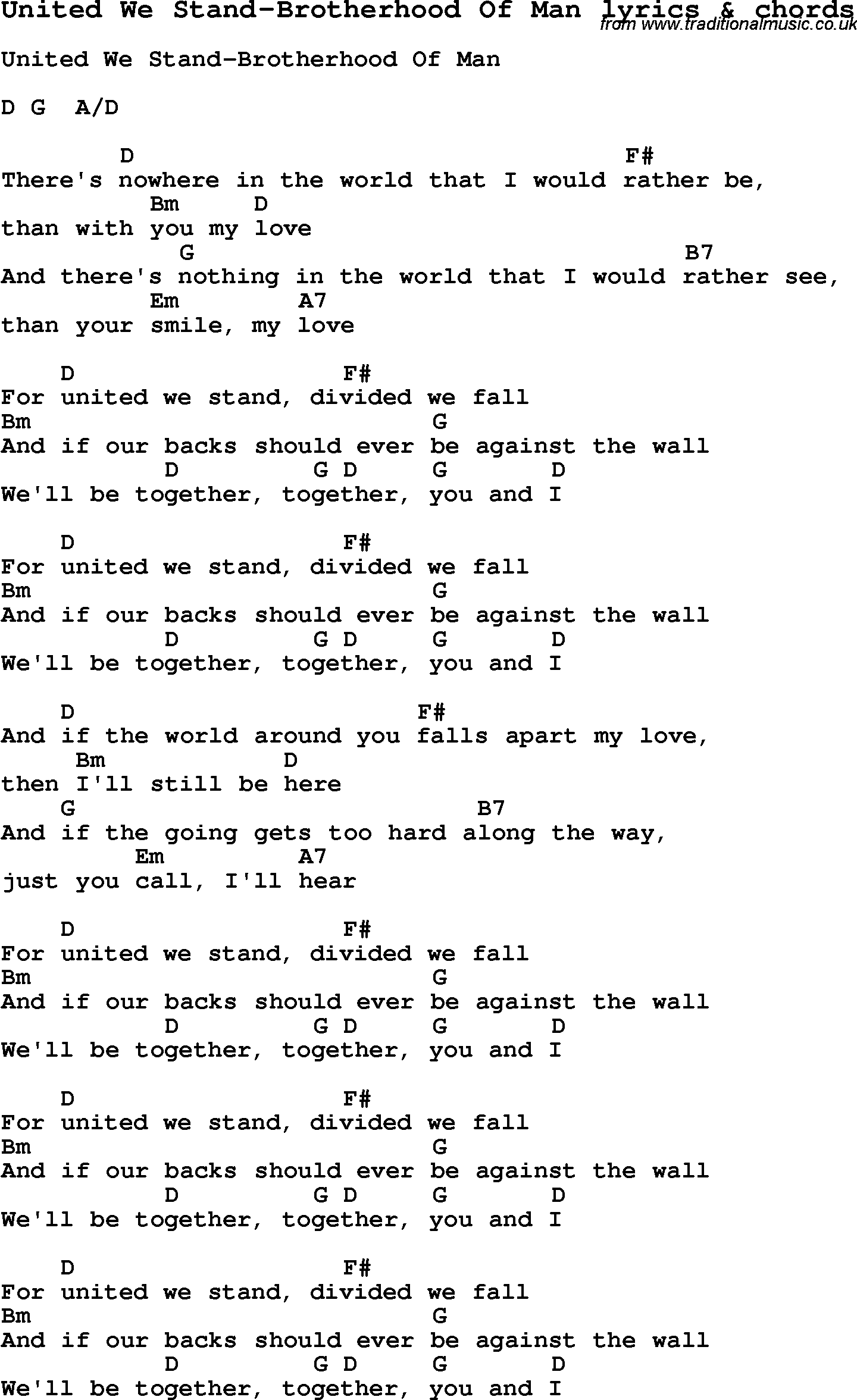 Love Song Lyrics Forunited We Stand Brotherhood Of Man With Chords