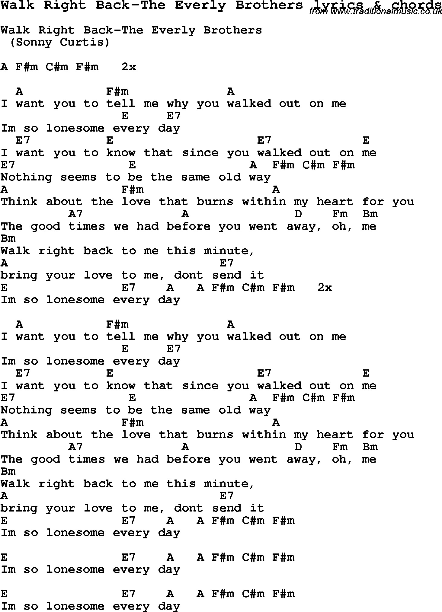Love Song Lyrics For Walk Right Back The Everly Brothers With Chords