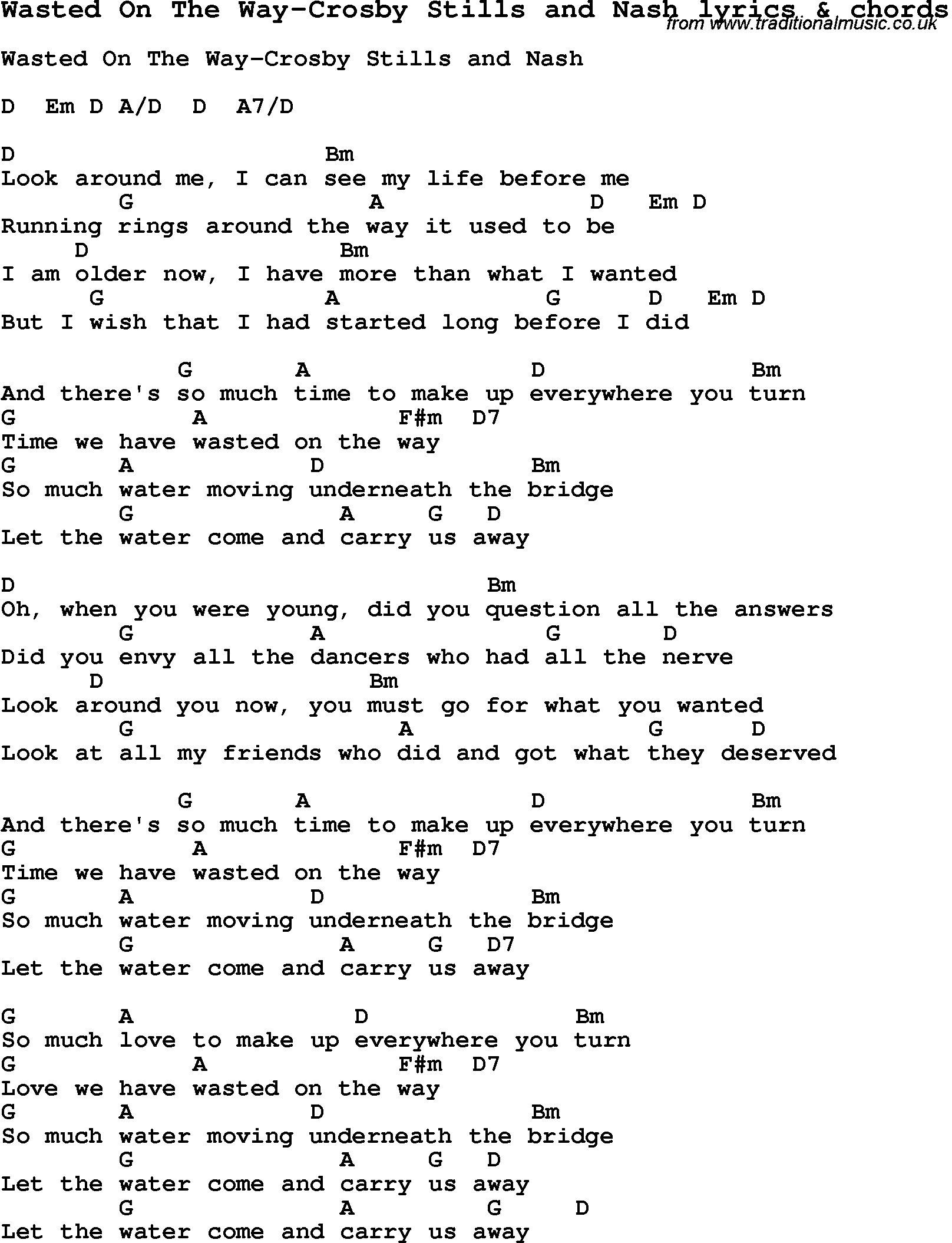Love song lyrics forwasted on the way crosby stills and nash with love song lyrics for wasted on the way crosby stills and nash with chords hexwebz Image collections