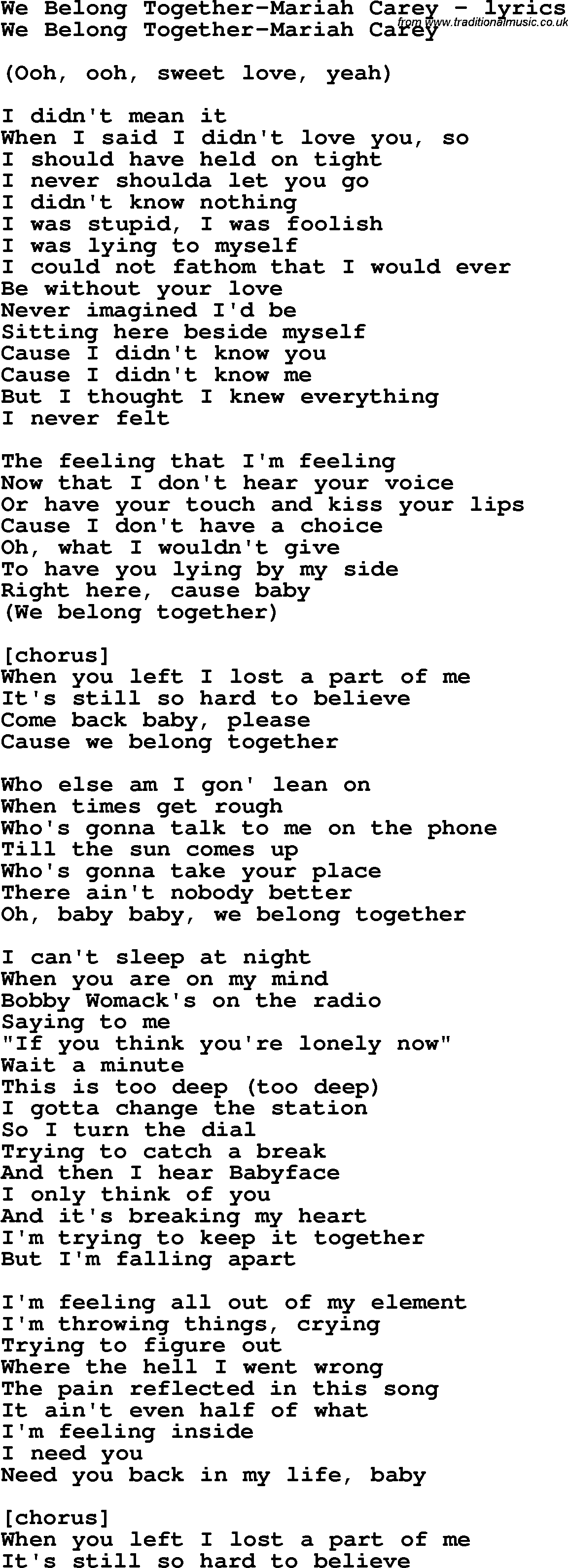 0dd5ee9e7 Love Song Lyrics for: We Belong Together-Mariah Carey