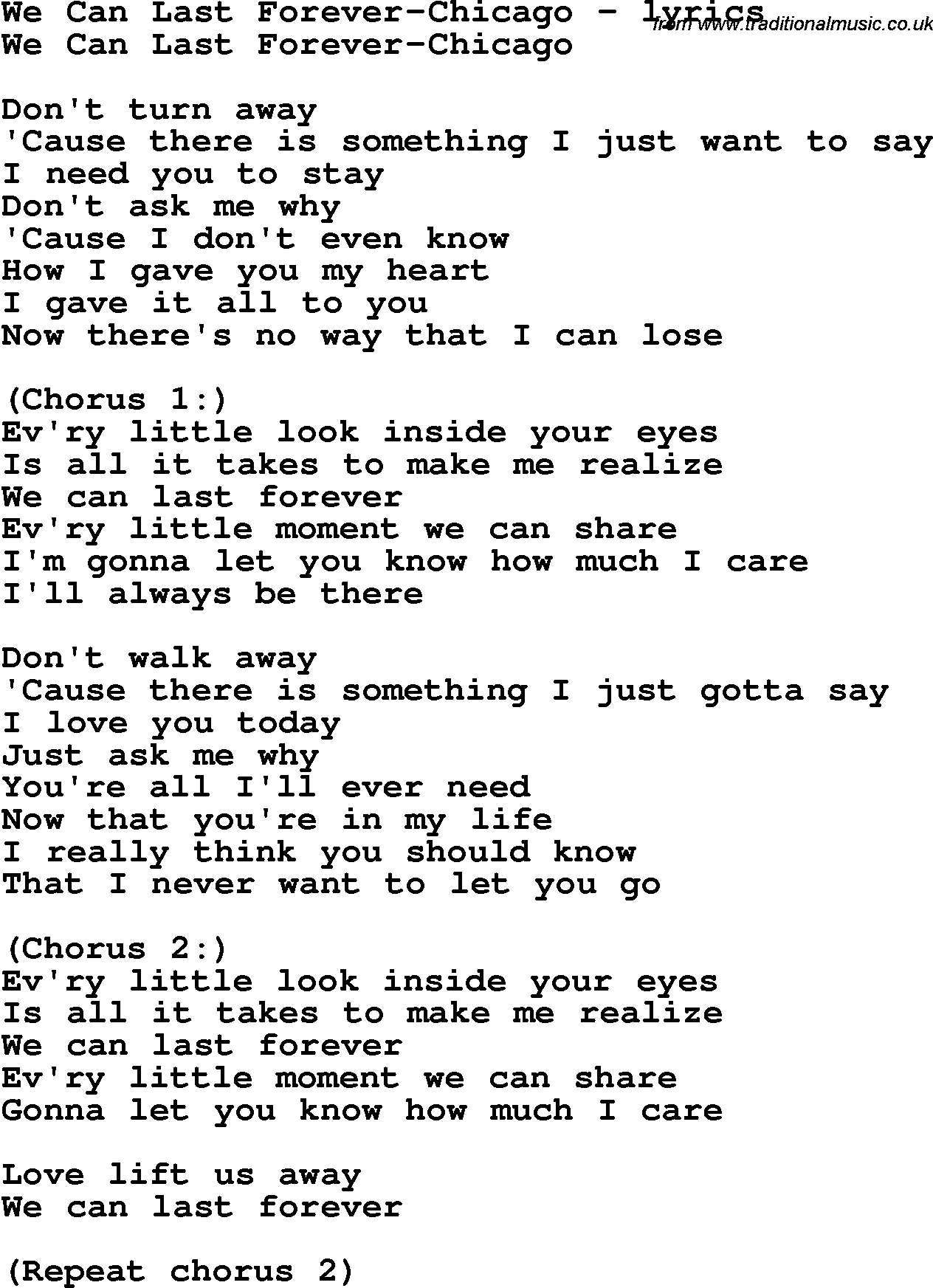you don t have to stay forever lyrics