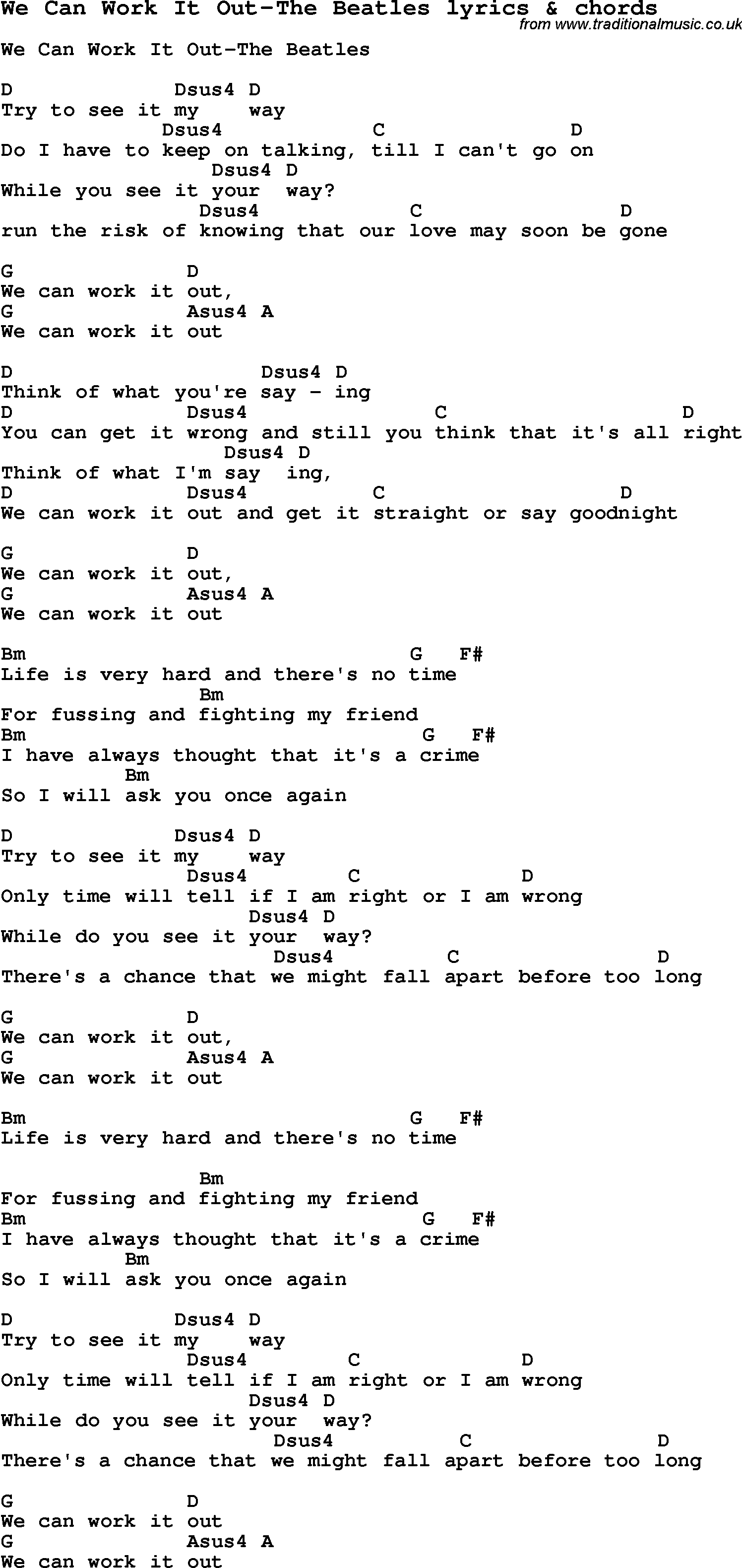 Love Song Lyrics for:We Can Work It Out-The Beatles with