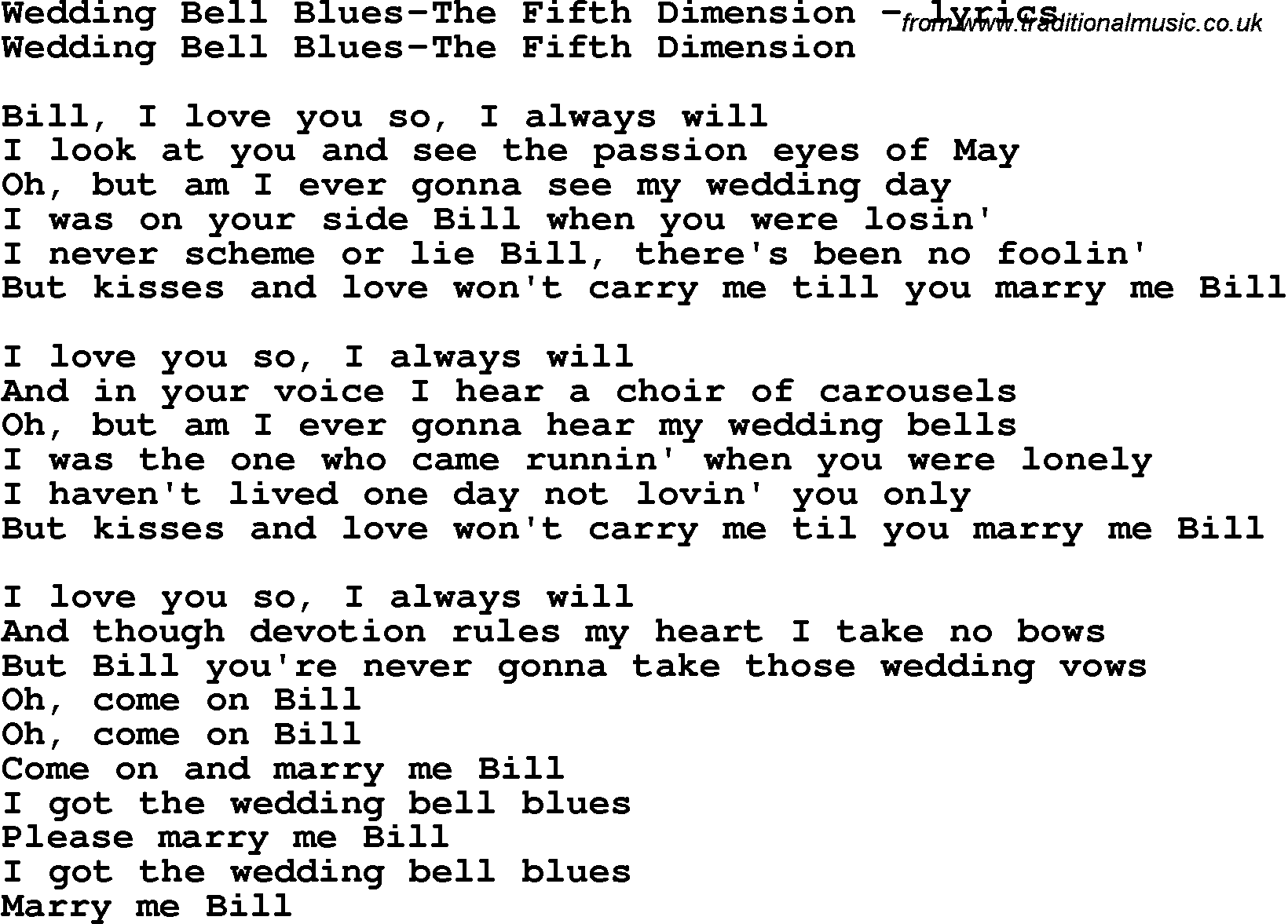 Love Song Lyrics ForWedding Bell Blues The Fifth Dimension