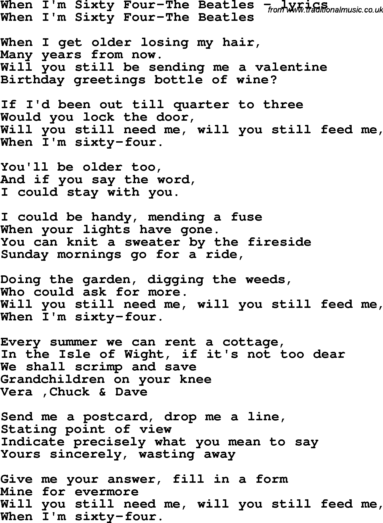 Love Song Lyrics For When I M Sixty Four The Beatles
