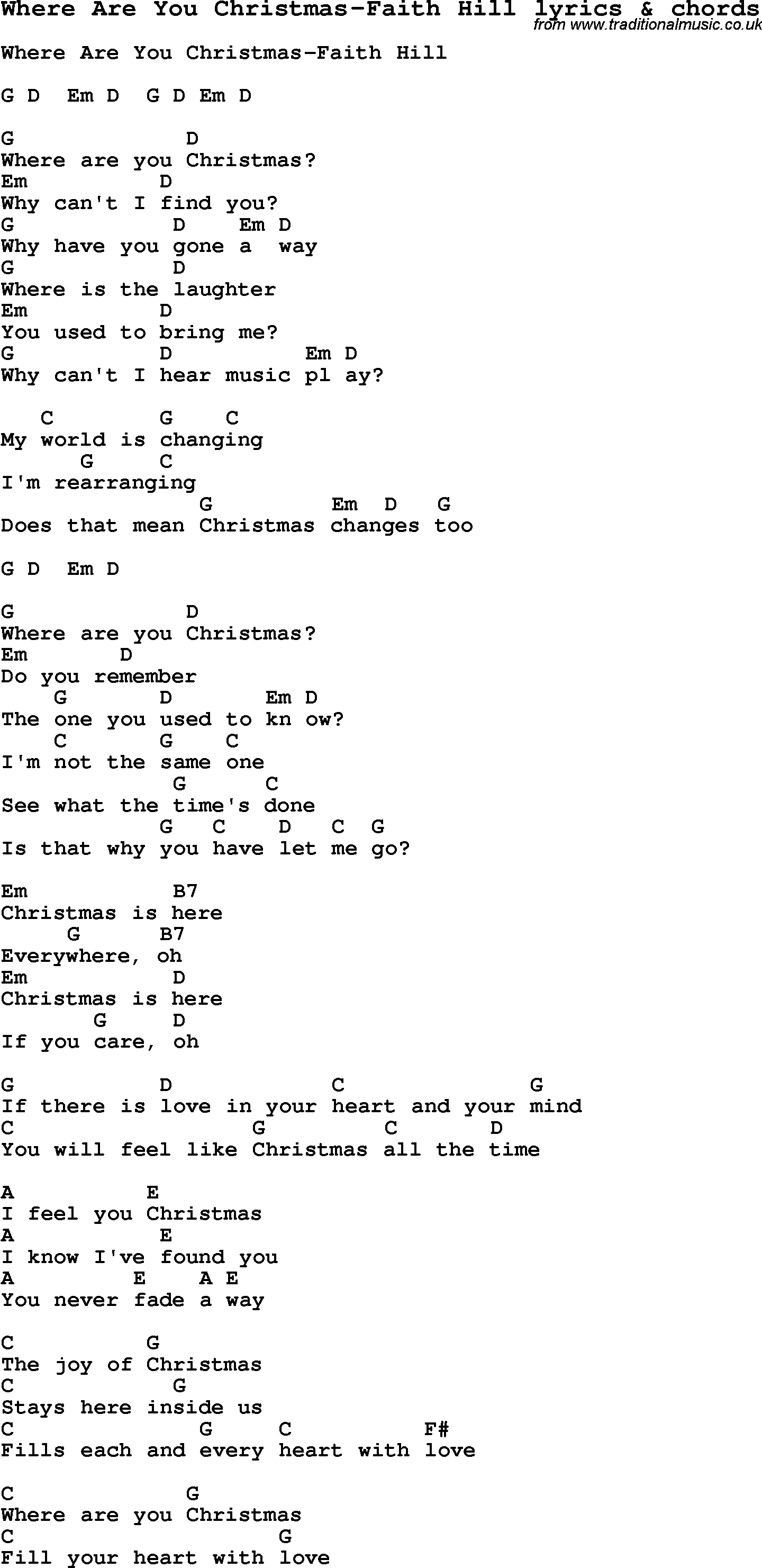 Love Song Lyrics for:Where Are You Christmas-Faith Hill with chords.