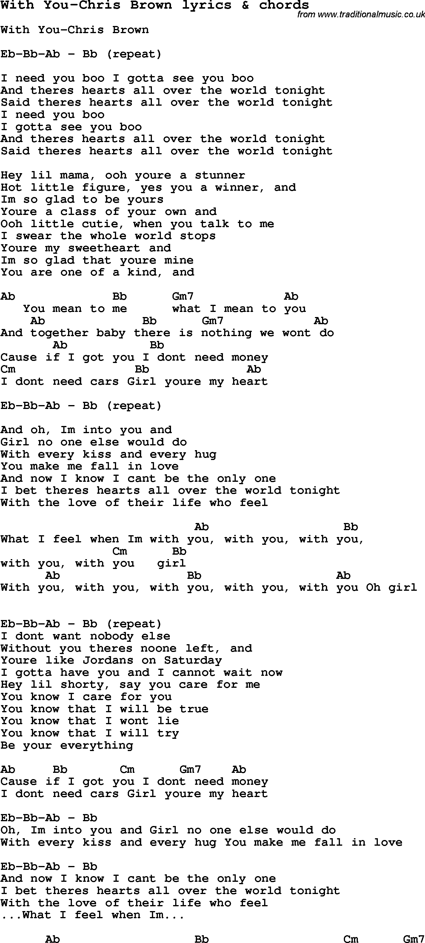 Love Song Lyrics for:With You-Chris Brown with chords.