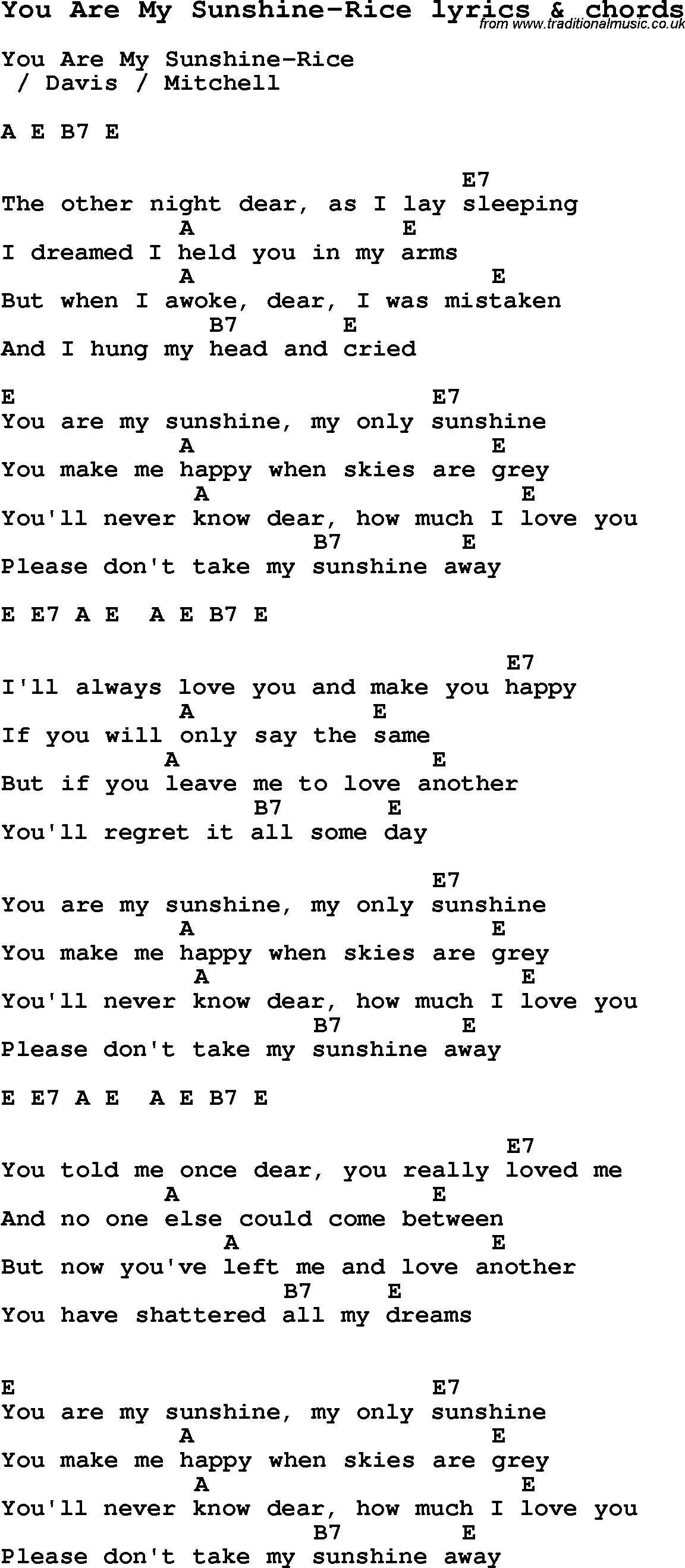 Gallery For u0026gt; You Are My Sunshine Lyrics Printable