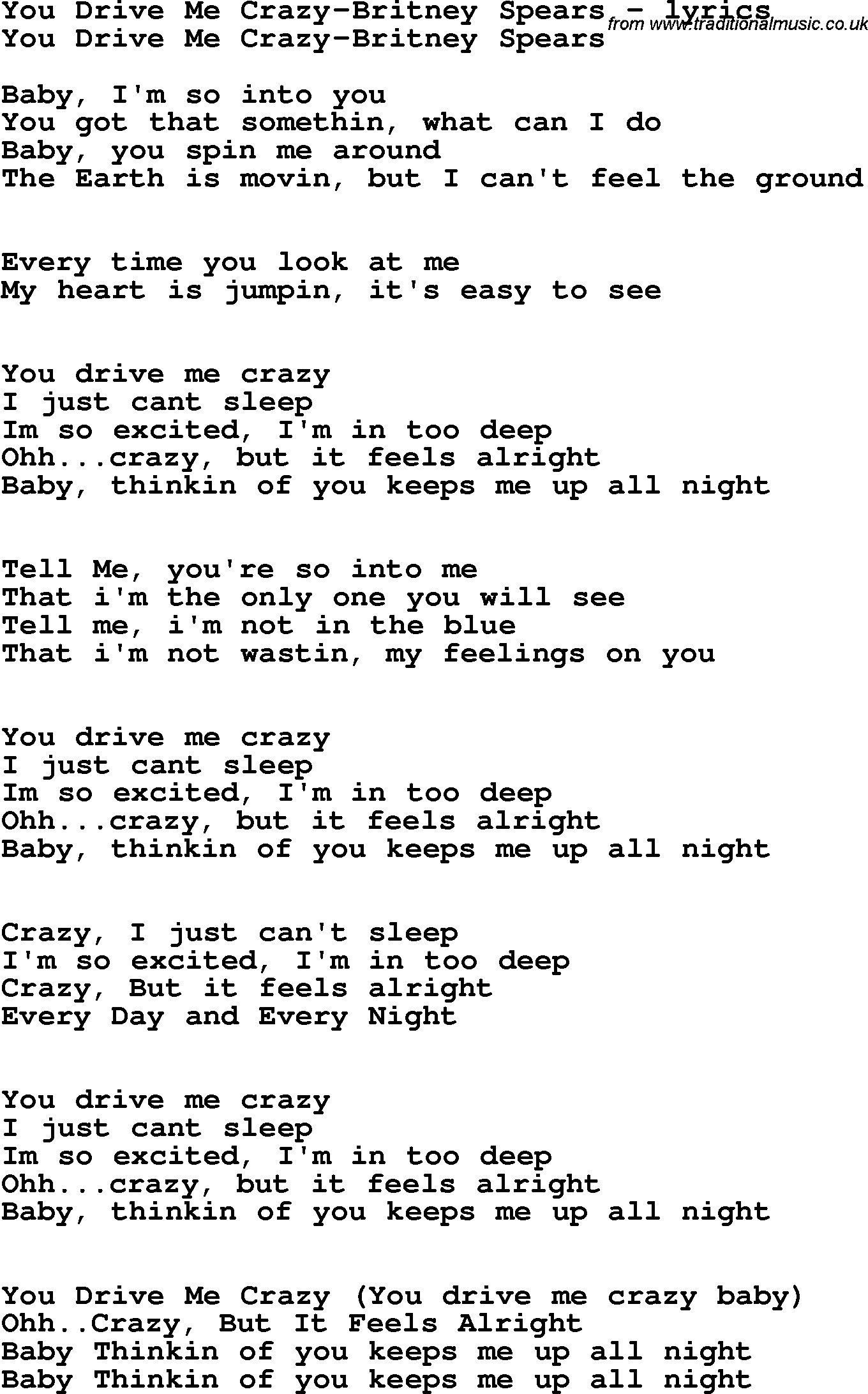 Love Song Lyrics For You Drive Me Crazy Britney Spears
