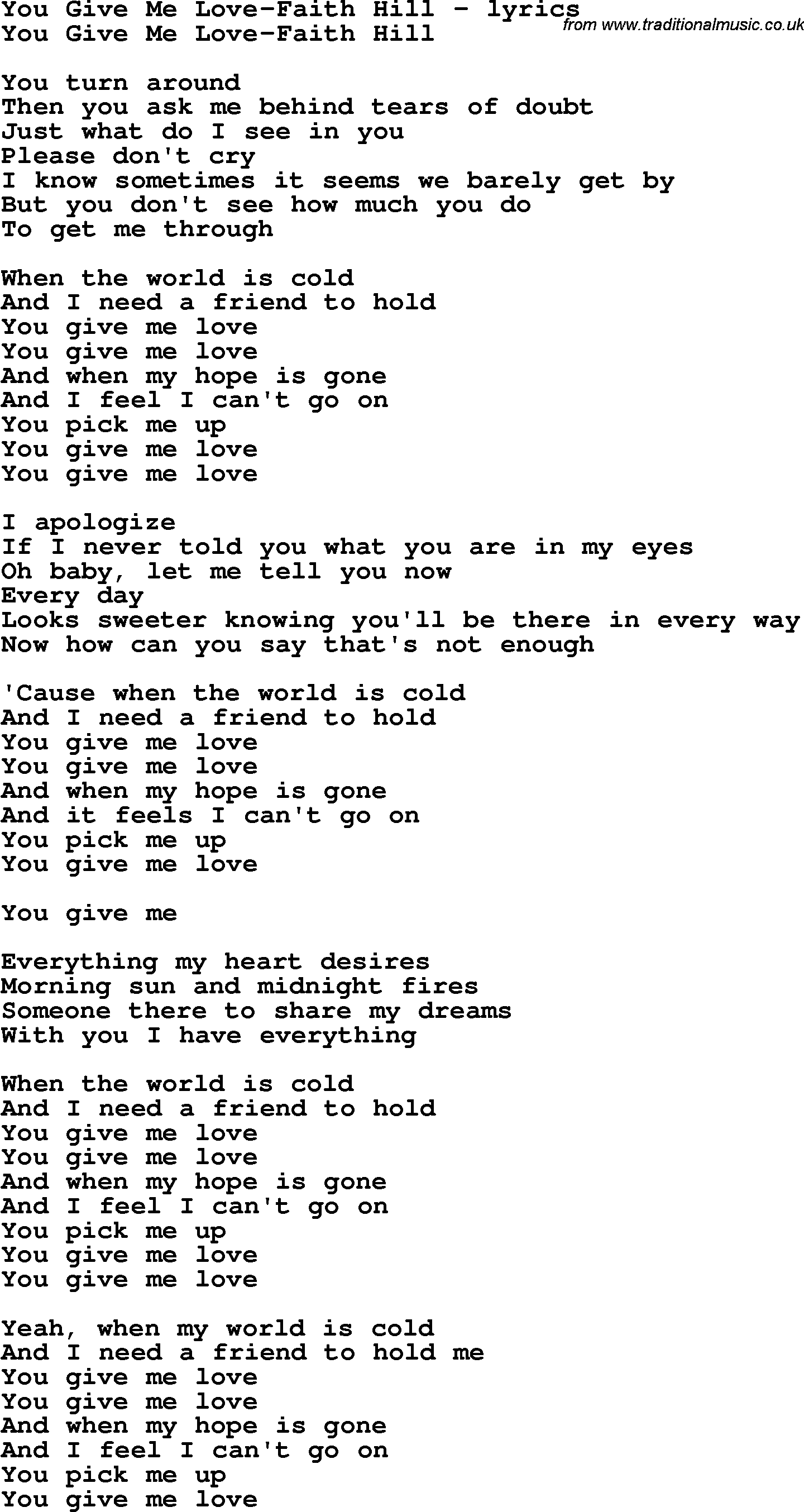 Love Song Lyrics for: You Give Me Love-Faith Hill