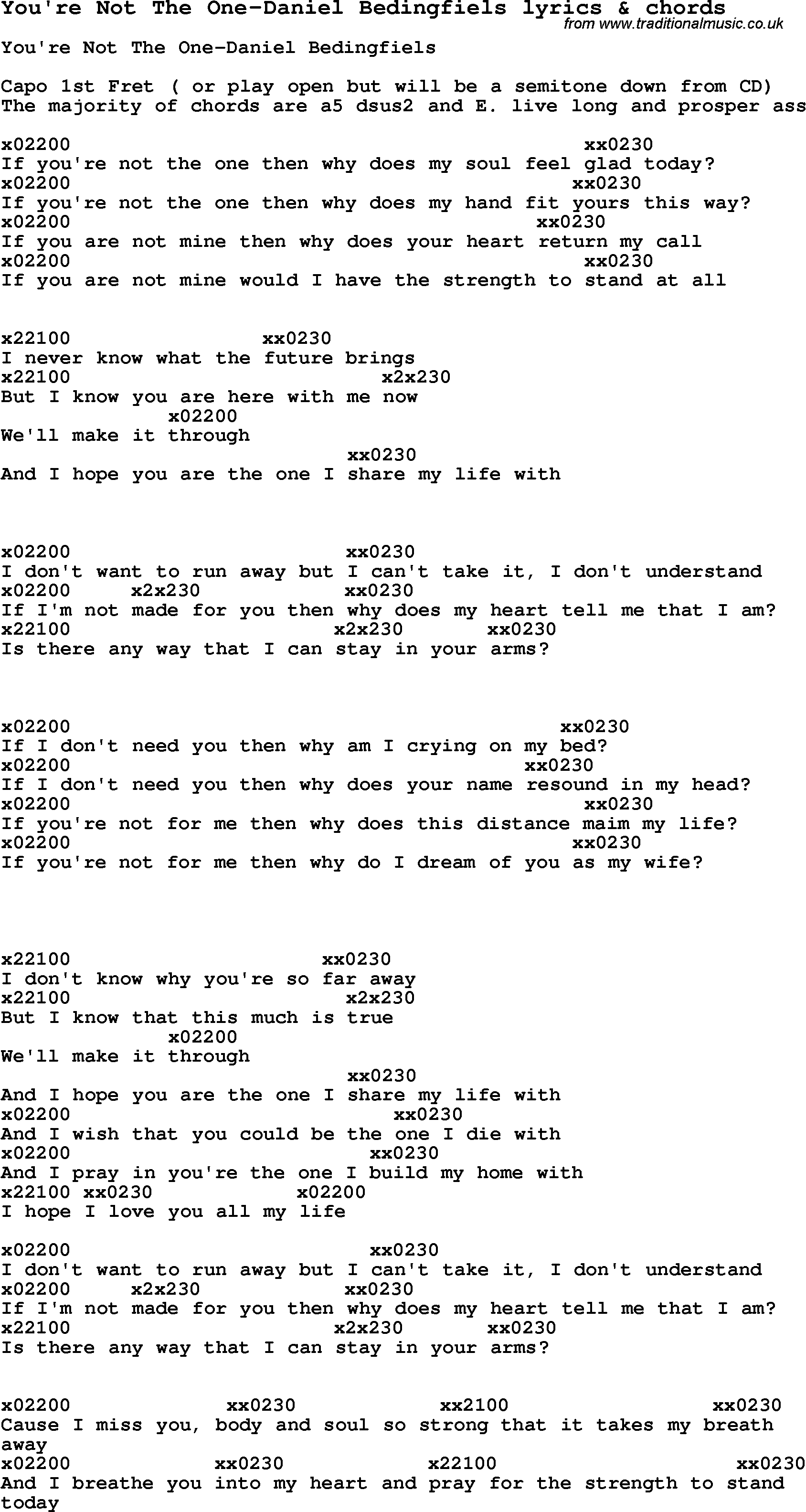 Love Song Lyrics Foryoure Not The One Daniel Bedingfiels With Chords