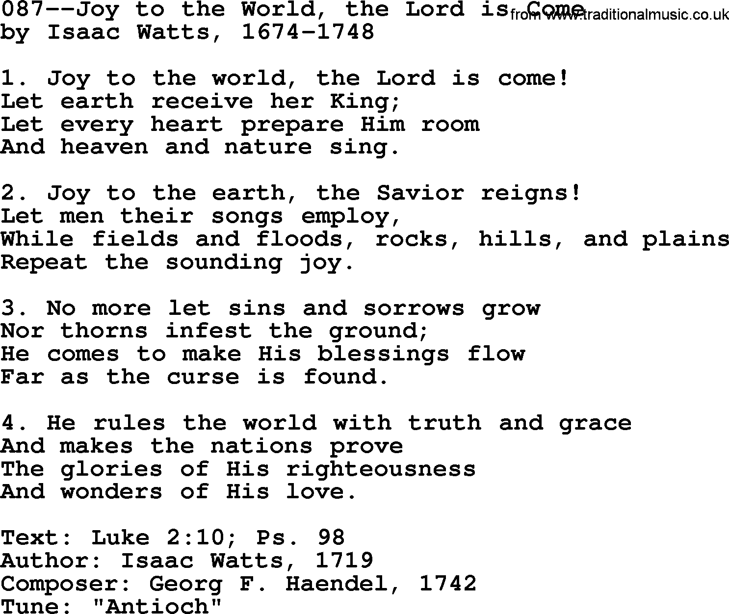 Lutheran Hymns, Song:087--Joy to the World, the Lord is ...
