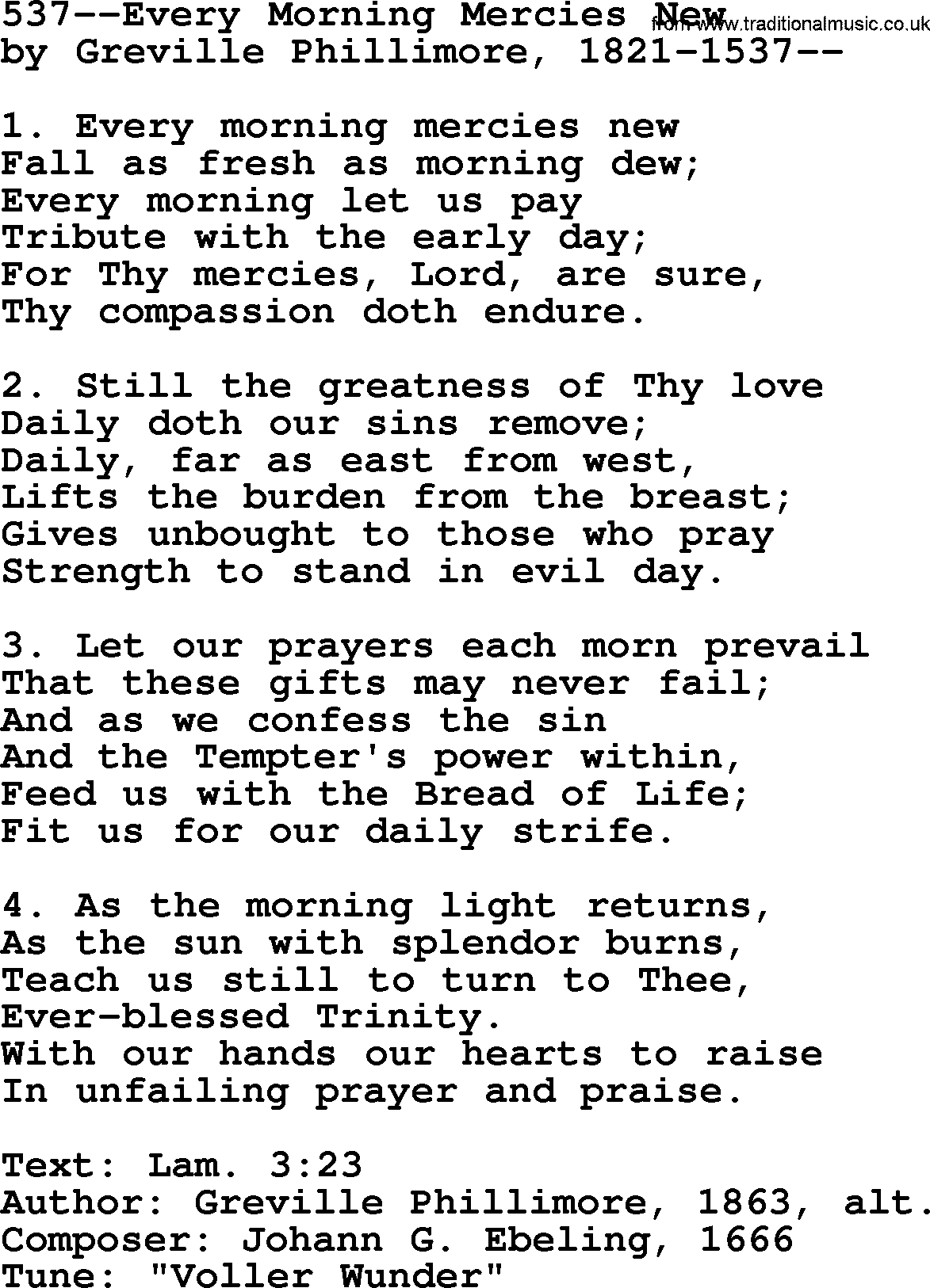Lutheran Hymns, Song:537--Every Morning Mercies New - lyrics and PDF