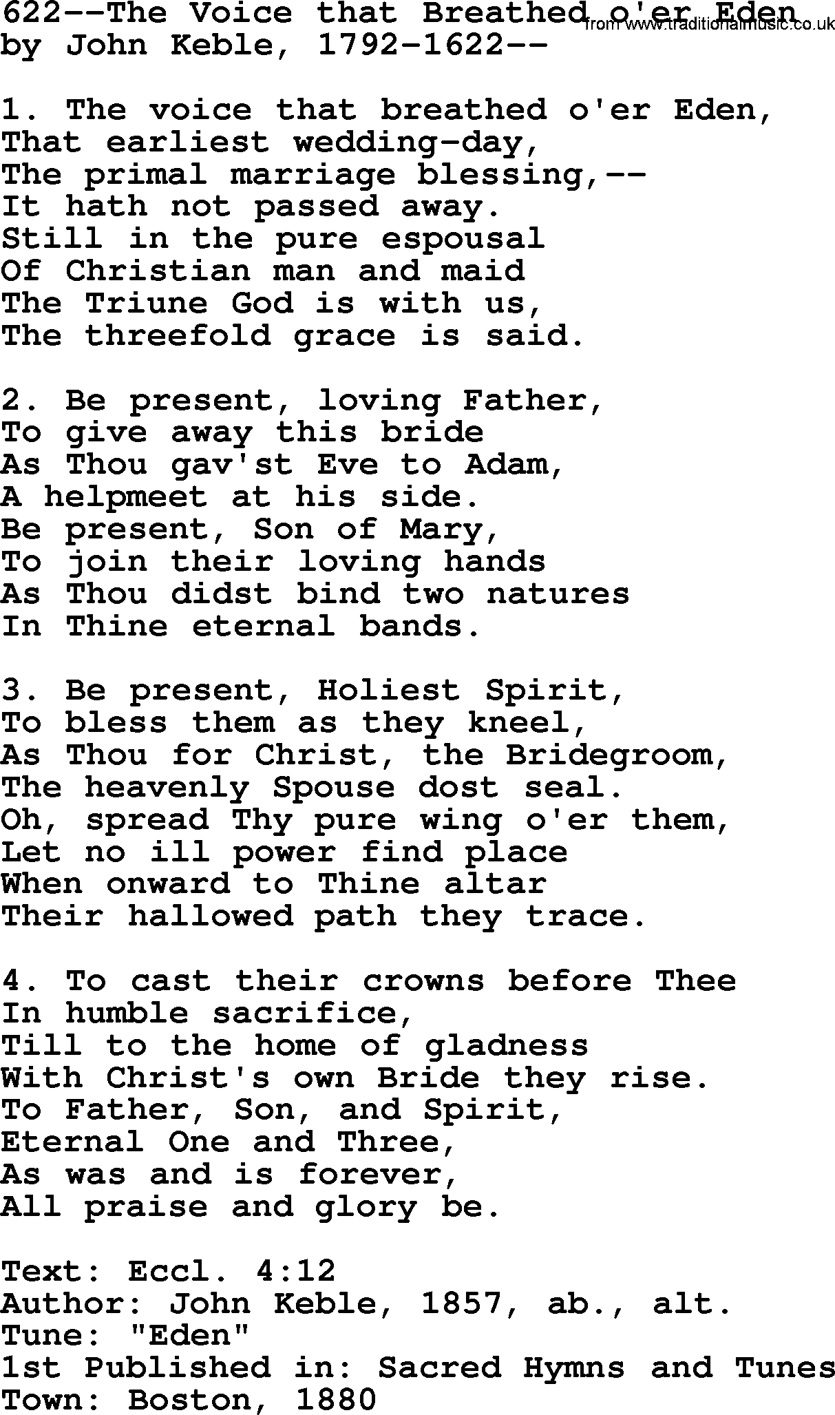 Lutheran Hymn: 622--The Voice that Breathed o'er Eden.txt