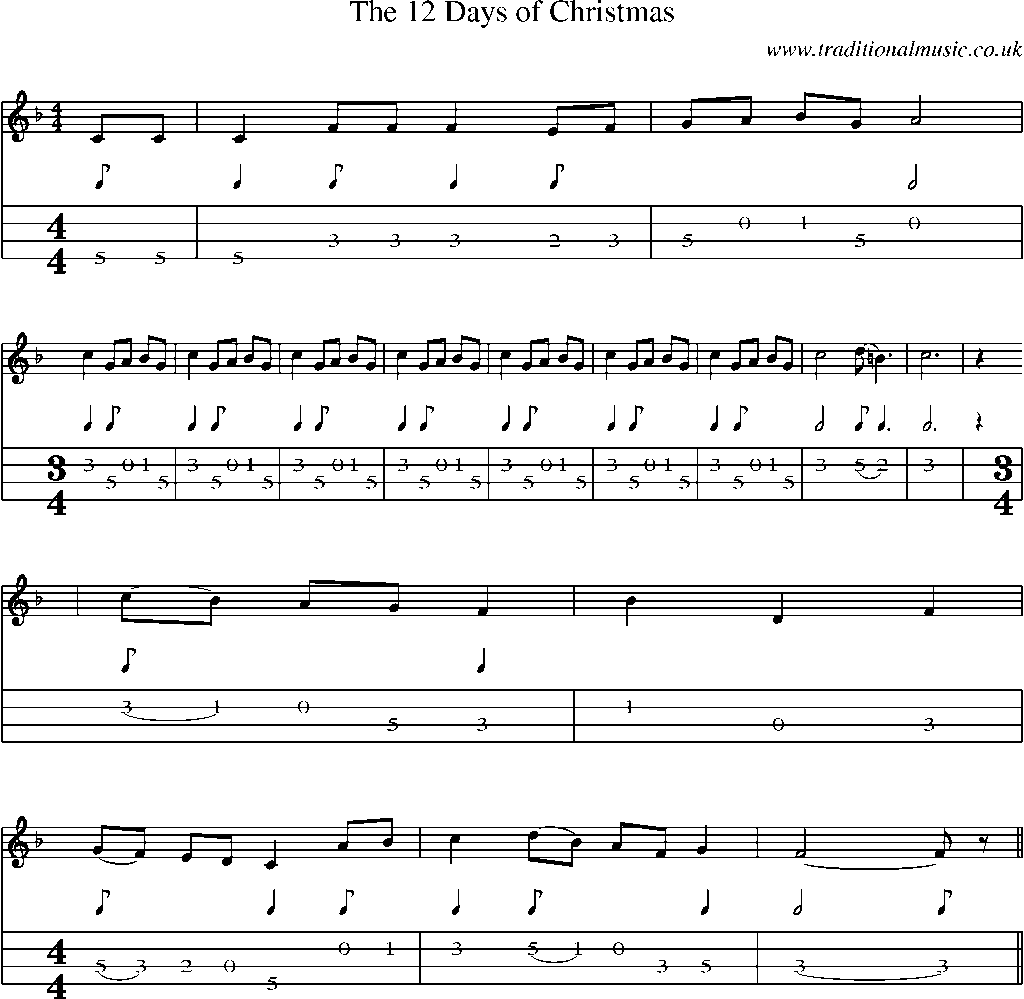 mandolin tab and sheet music for the 12 days of christmas - The 12 Days After Christmas