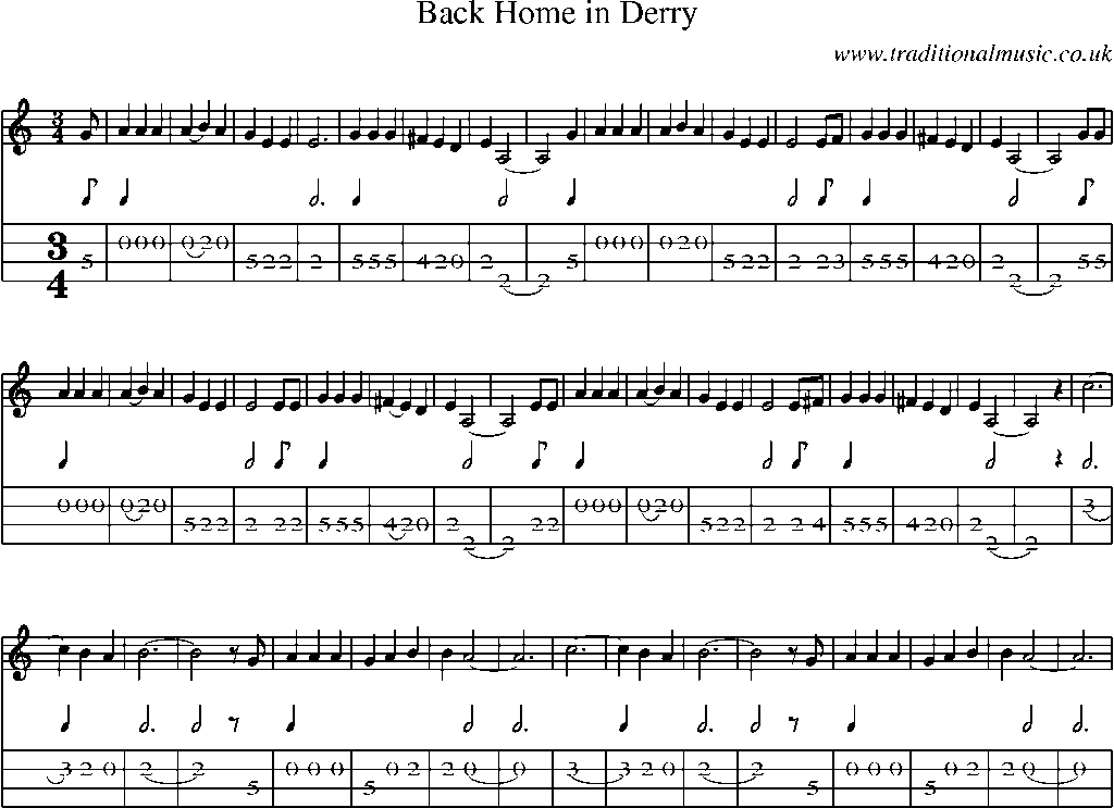 Mandolin Tab And Sheet Music For Songback Home In Derry