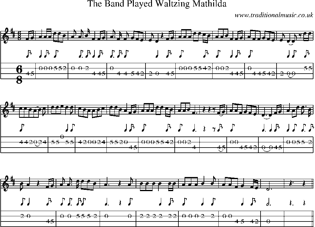 Mandolin Tab And Sheet Music For Songthe Band Played Waltzing Mathilda
