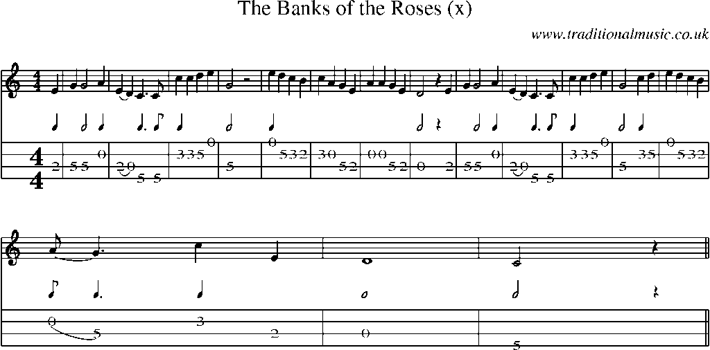 Mandolin Tab and Sheet Music for song:The Banks Of The Roses (x)