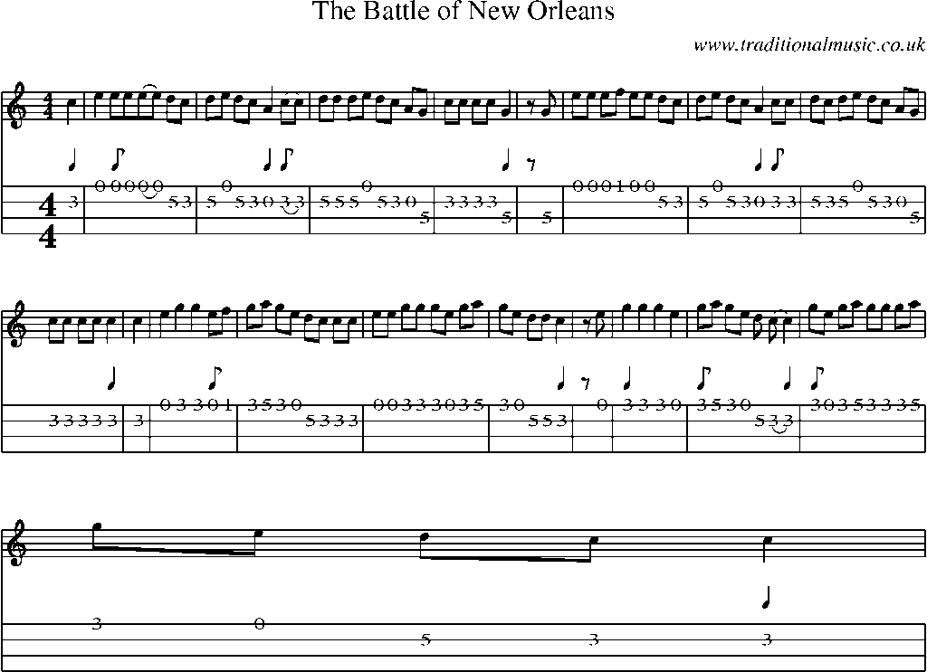 Mandolin Tab And Sheet Music For Songthe Battle Of New Orleans