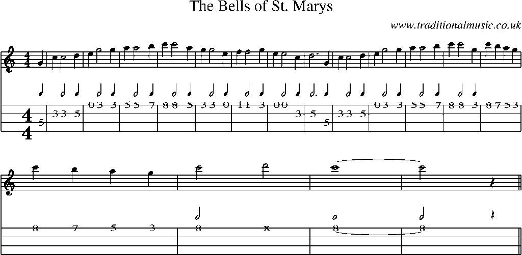 Mandolin Tab And Sheet Music For Songthe Bells Of St Marys