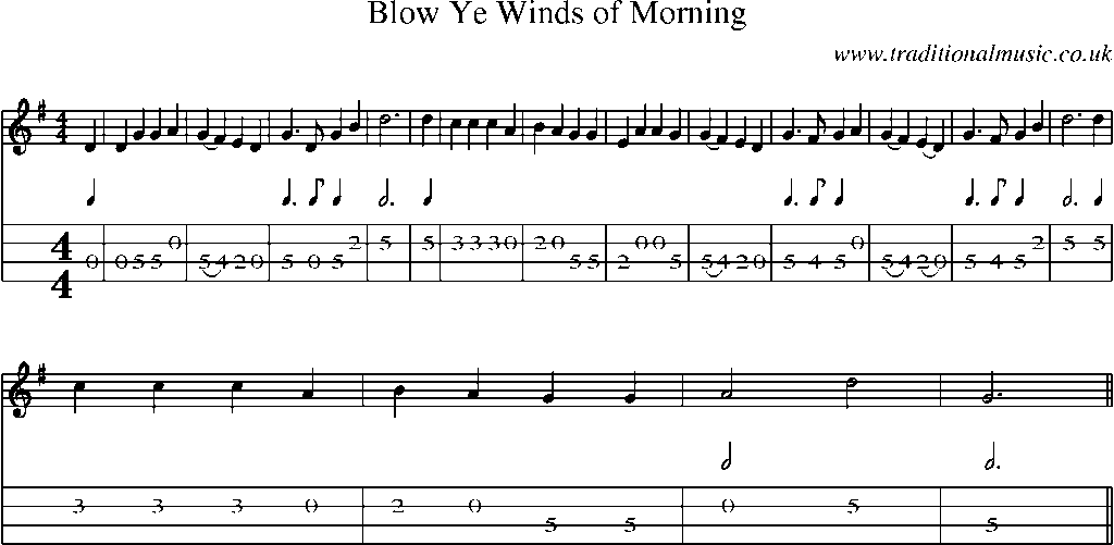 Mandolin Tab and Sheet Music for song:Blow Ye Winds Of Morning