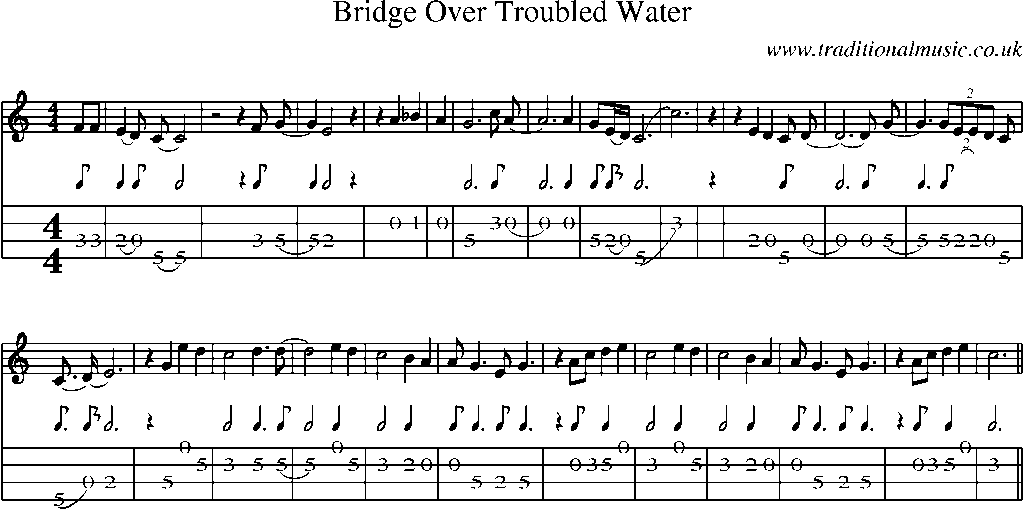 Mandolin Tab and Sheet Music for song:Bridge Over Troubled Water