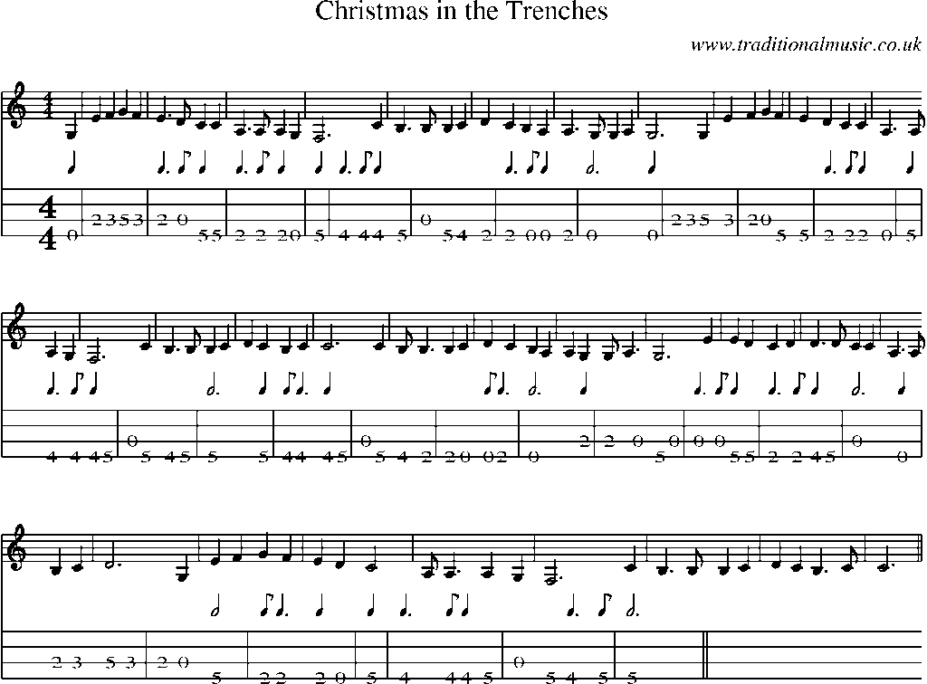 Mandolin Tab and Sheet Music for song:Christmas In The Trenches