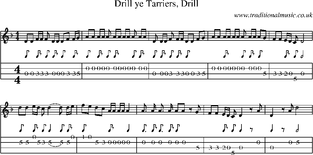 Mandolin Tab and Sheet Music for song:Drill Ye Tarriers, Drill