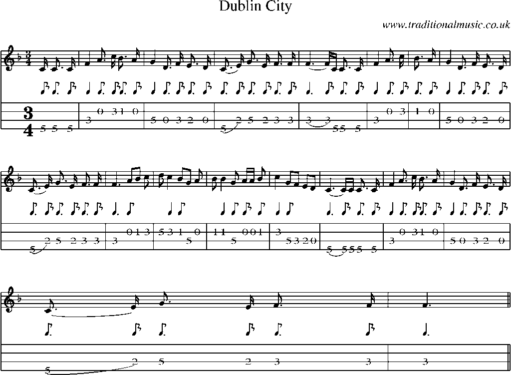 Mandolin Tab and Sheet Music for song:Dublin City