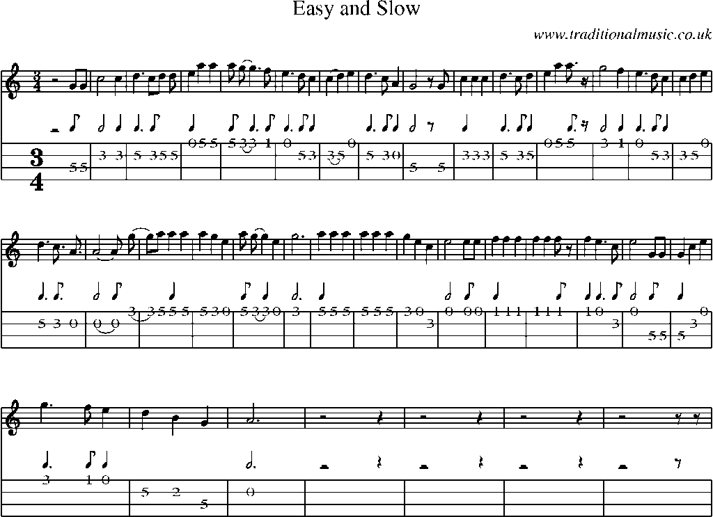 Mandolin Tab and Sheet Music for song:Easy And Slow