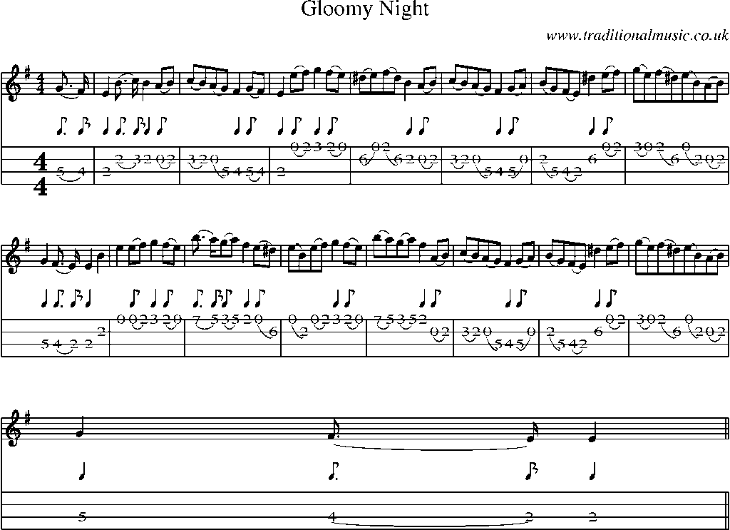 Mandolin Tab and Sheet Music for song:Gloomy Night