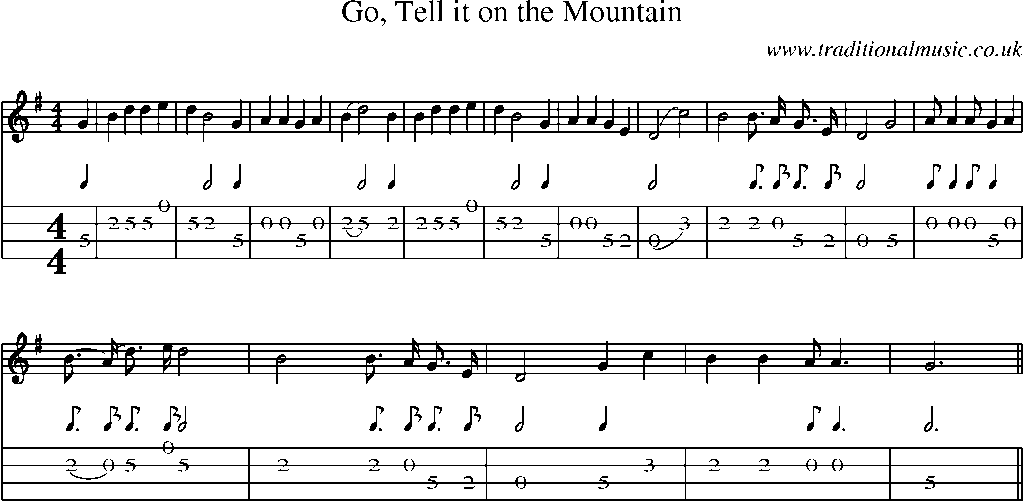 Mandolin Tab and Sheet Music for song:Go, Tell It On The Mountain