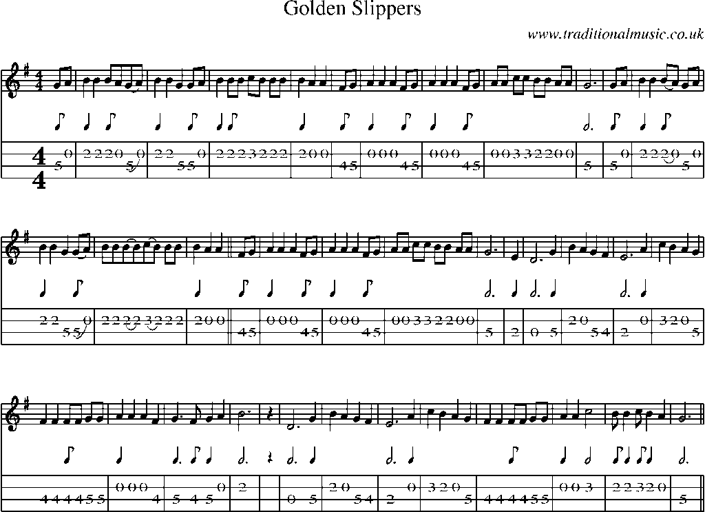 All Music Chords golden sheet music : Mandolin Tab and Sheet Music for song:Golden Slippers