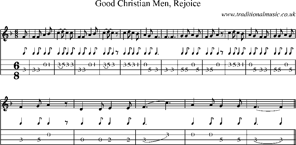 Mandolin Tab and Sheet Music for song:Good Christian Men, Rejoice