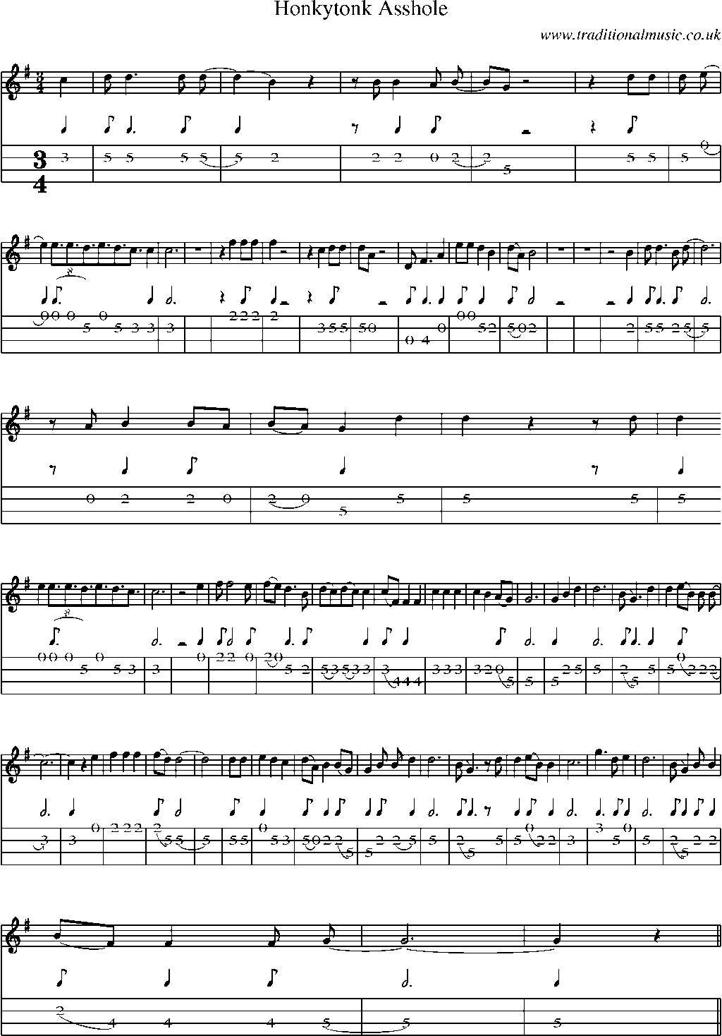 Mandolin tab and sheet music for song honkytonk asshole for Classic house chords