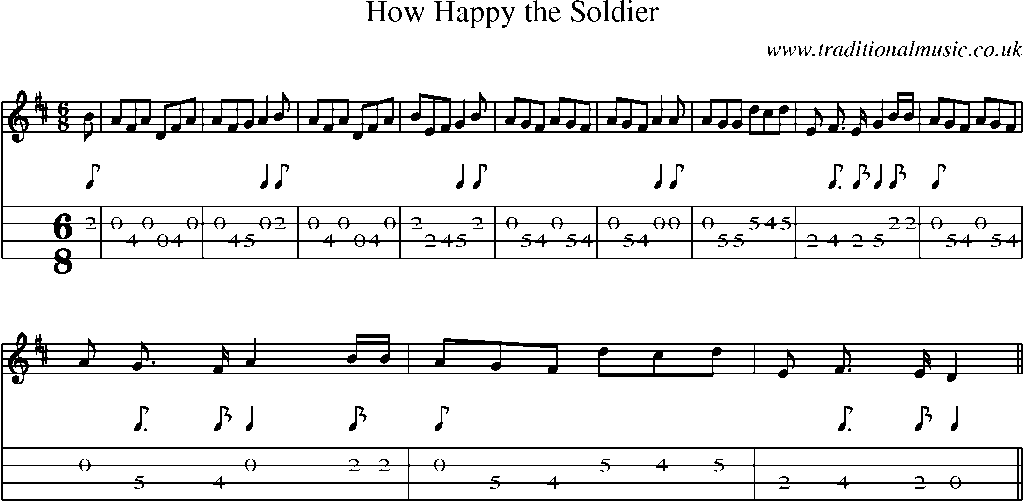 Mandolin Tab and Sheet Music for song:How Happy The Soldier