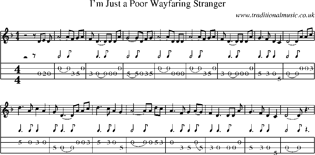 Mandolin Tab and Sheet Music for song:Iu0026#39;m Just A Poor Wayfaring Stranger