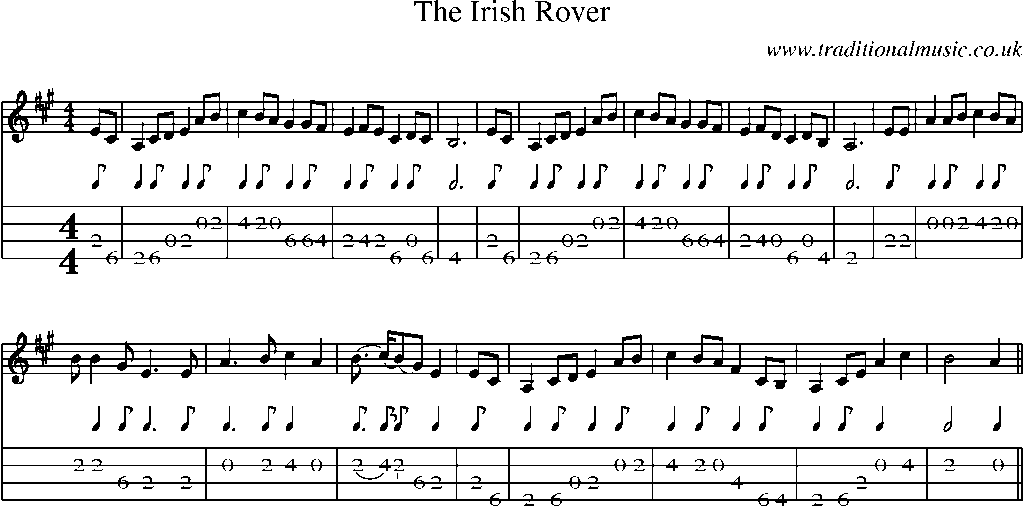 Mandolin Tab and Sheet Music for song:The Irish Rover