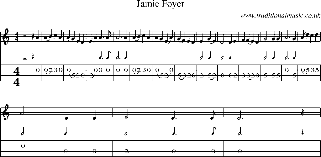 Jamie Foyers Traditional : Mandolin tab and sheet music for song jamie foyer